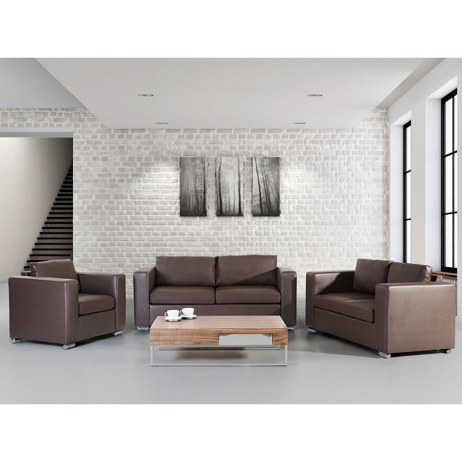 Home Haus Helsinki Leather Sofa Set Reviews Wayfair Uk