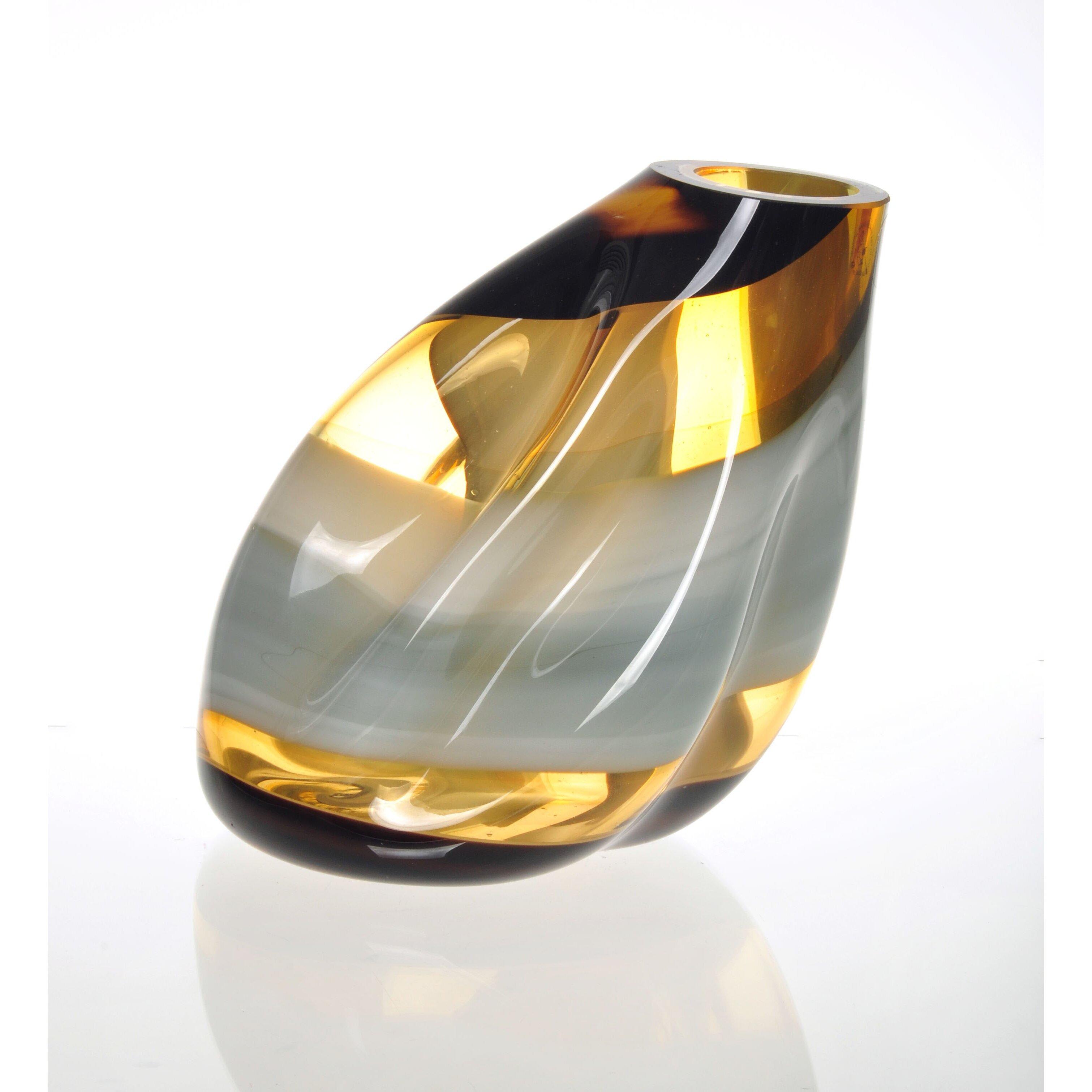 viz glass terre moderne slanted vase reviews wayfair. Black Bedroom Furniture Sets. Home Design Ideas