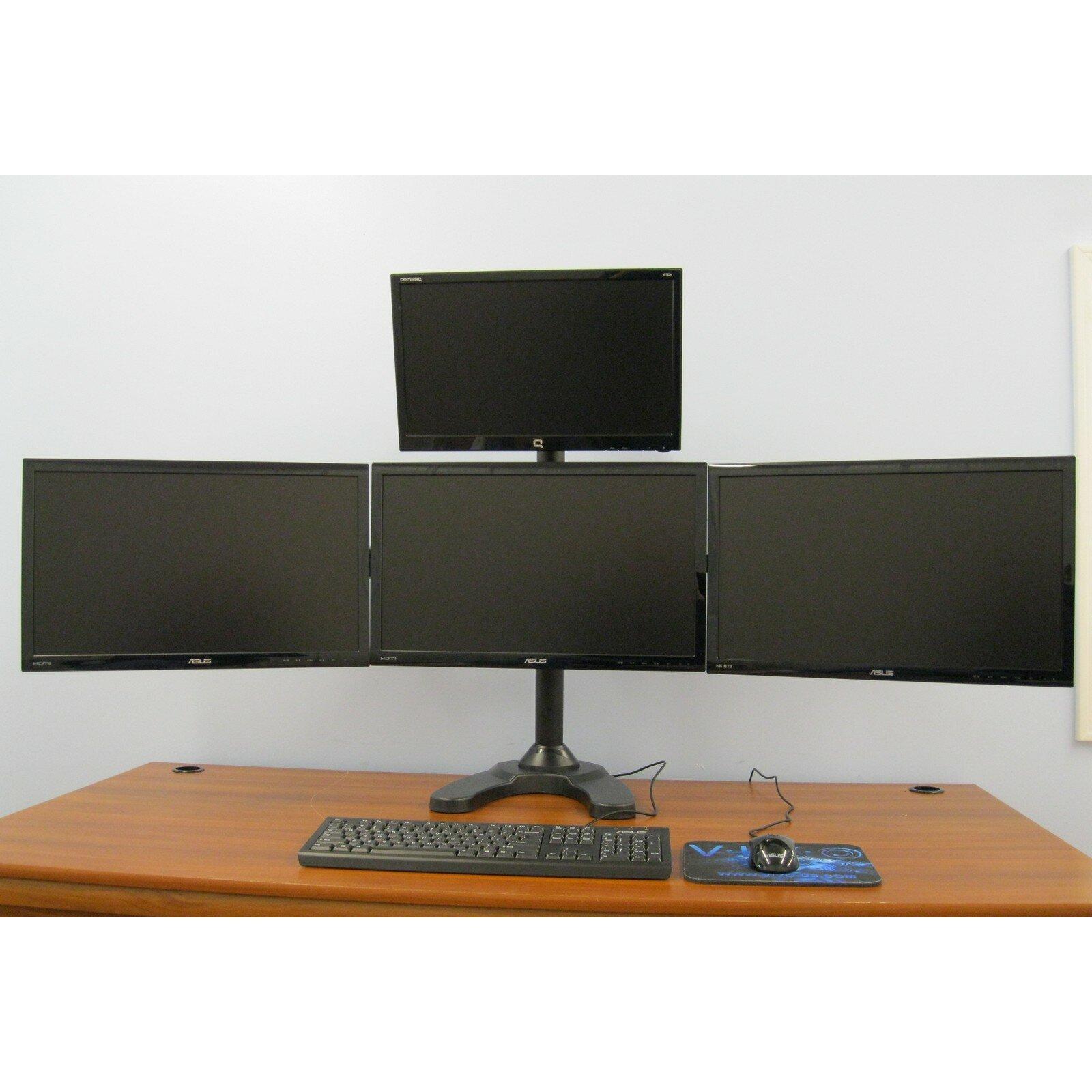 Vivo Quad Lcd Monitor Free Standing Height Adjustable 4