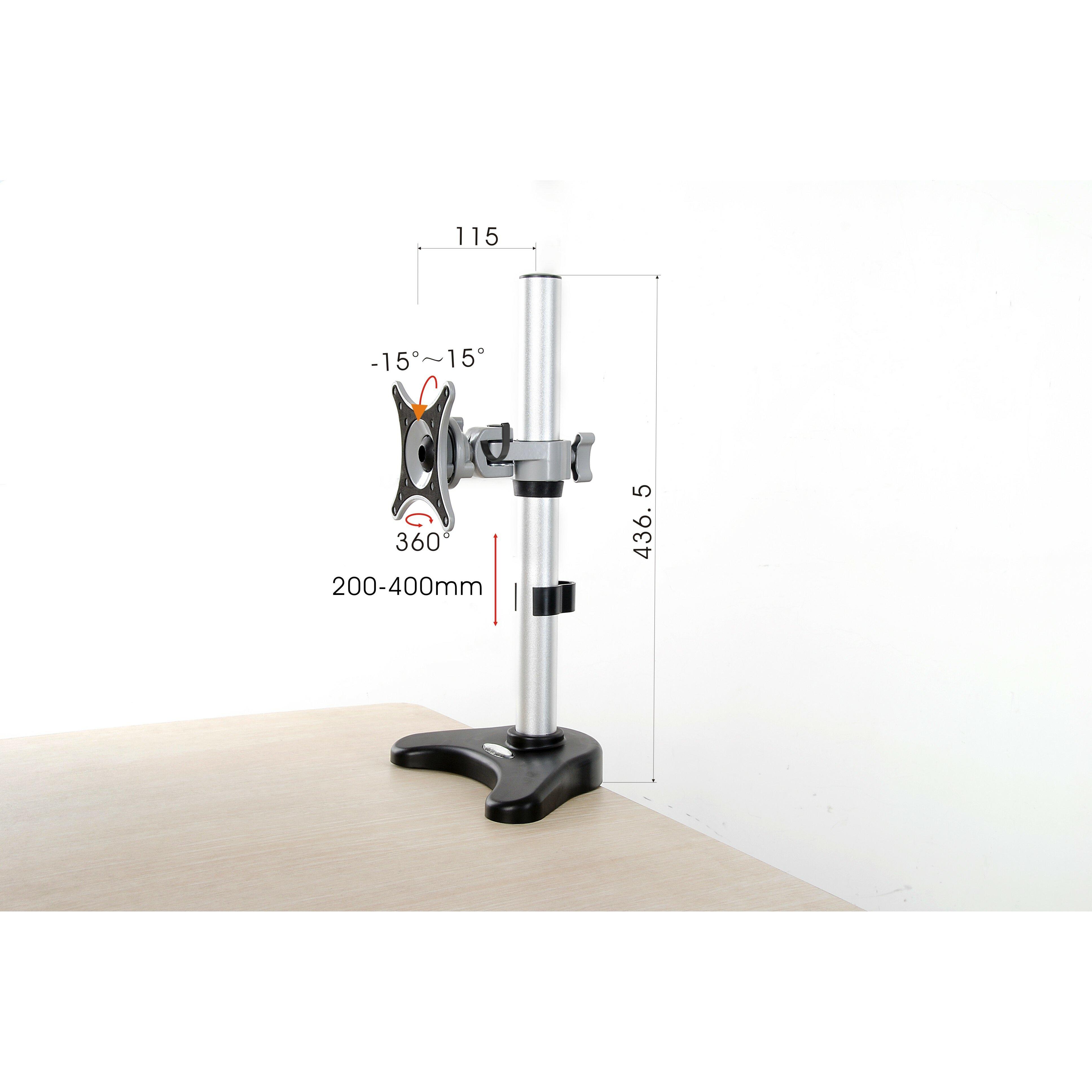 Vivo Single Lcd Monitor Silver Height Adjustable Desk