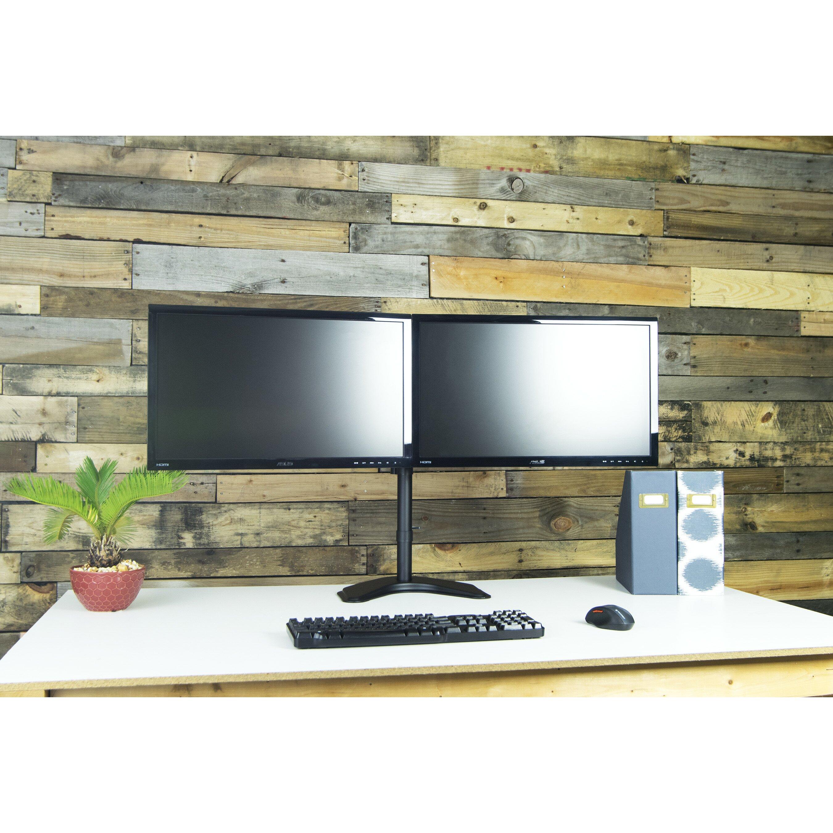 Vivo Dual Lcd Monitor Free Standing Height Adjustable 2