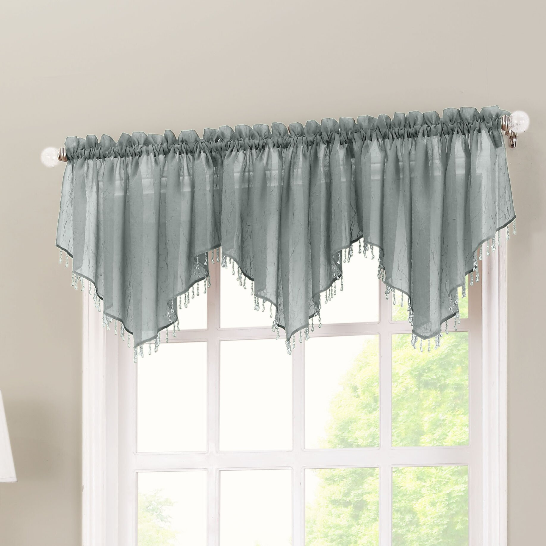 No 918 crushed sheer voile 51 curtain valance reviews for Window valance