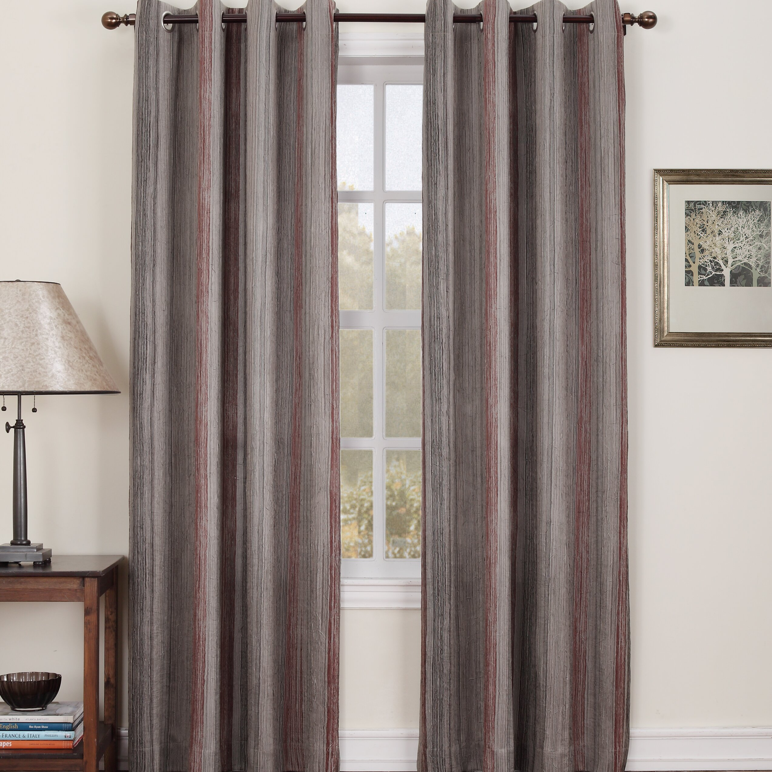 Sun Zero Trey Crushed Design Grommet Single Curtain Panel