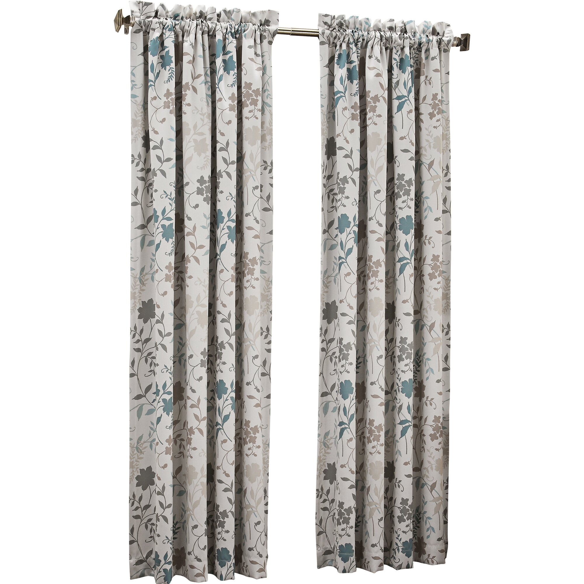 Sun Zero Auburn Floral Print Rod Pocket Single Curtain