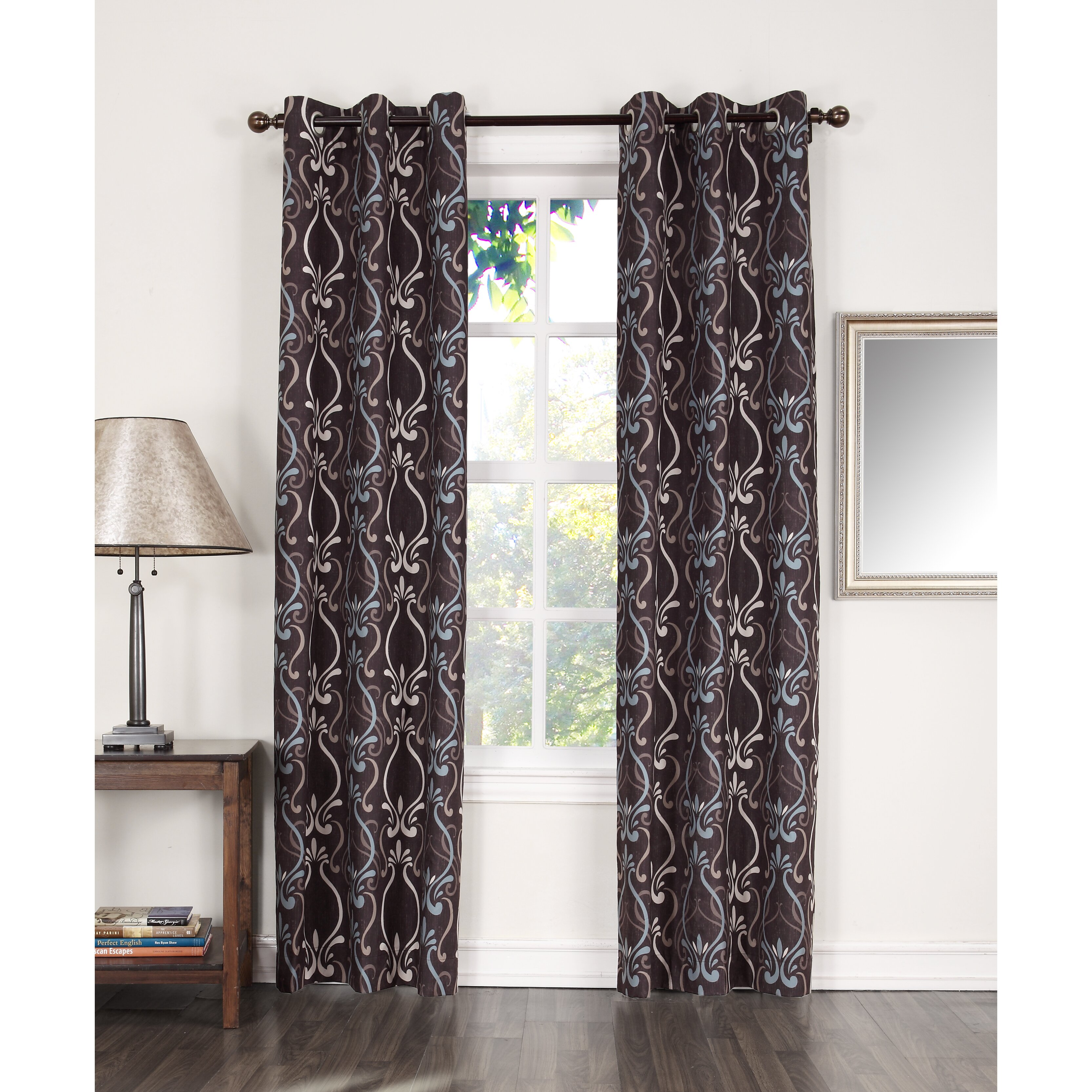 Sun zero mandy thermal lined grommet single curtain panel for Grommet curtains