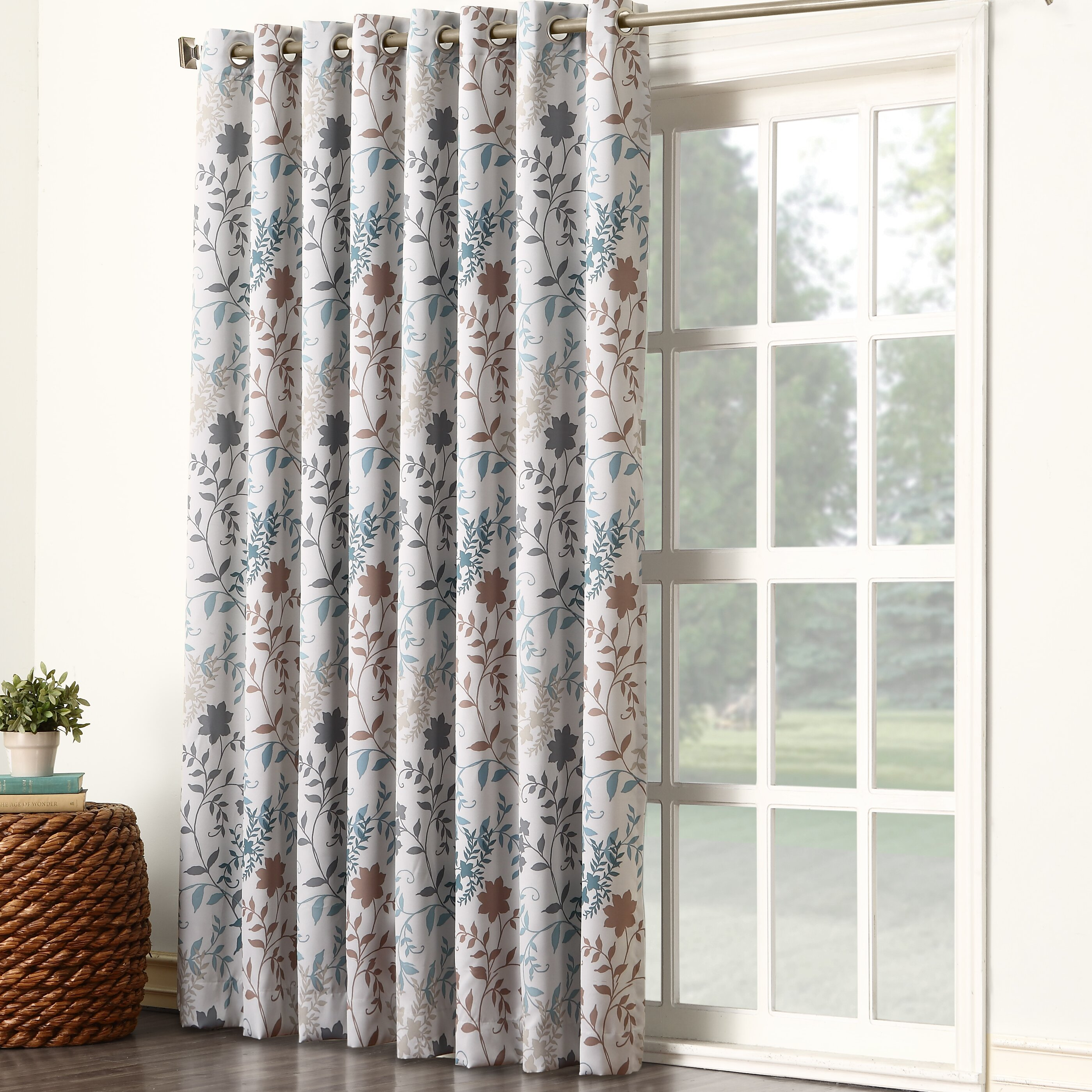 sun zero auburn floral extra wide grommet patio door single curtain panel reviews wayfair. Black Bedroom Furniture Sets. Home Design Ideas