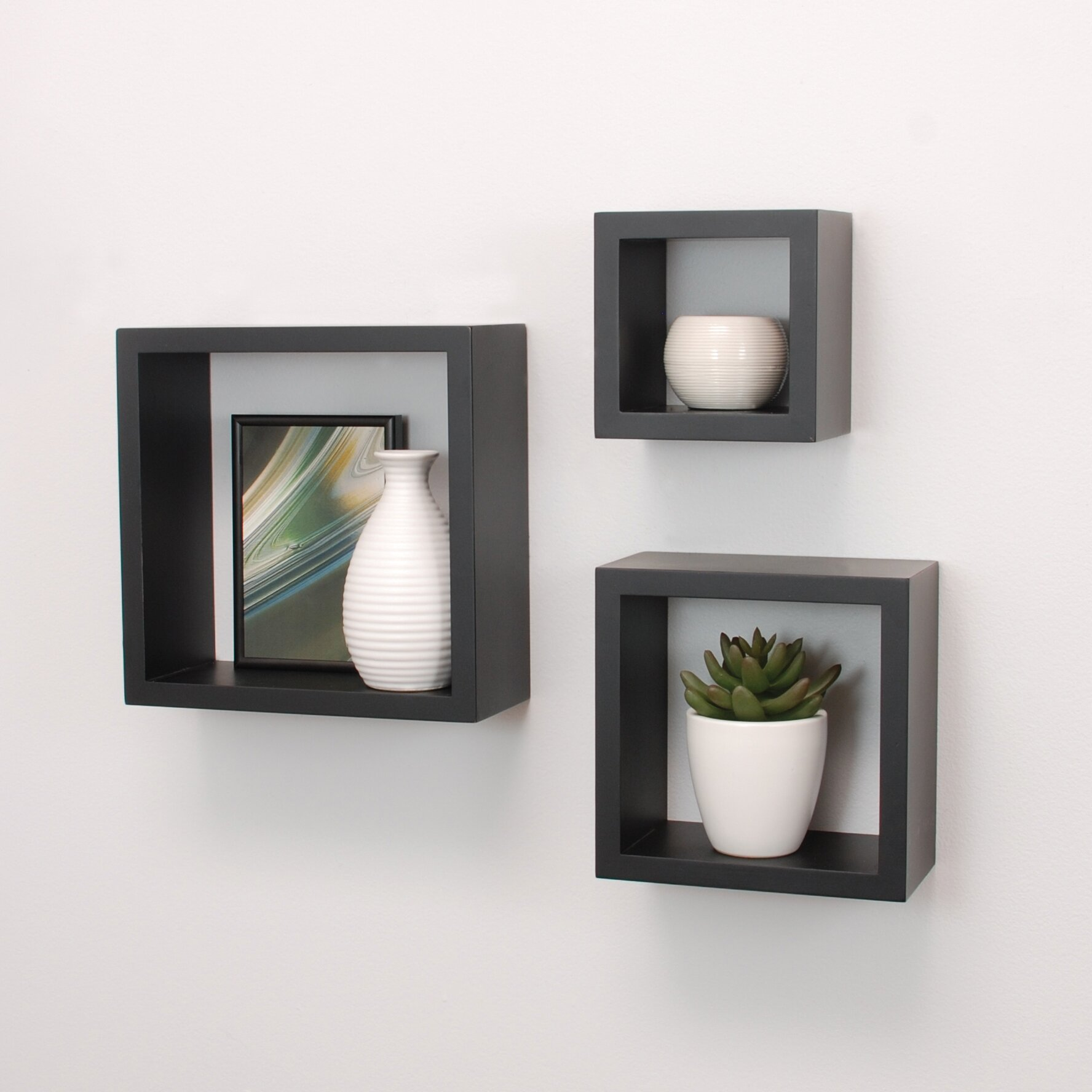 Nexxt design cubbi 3 piece wall shelf set reviews wayfair - Etagere murale pour cd ...
