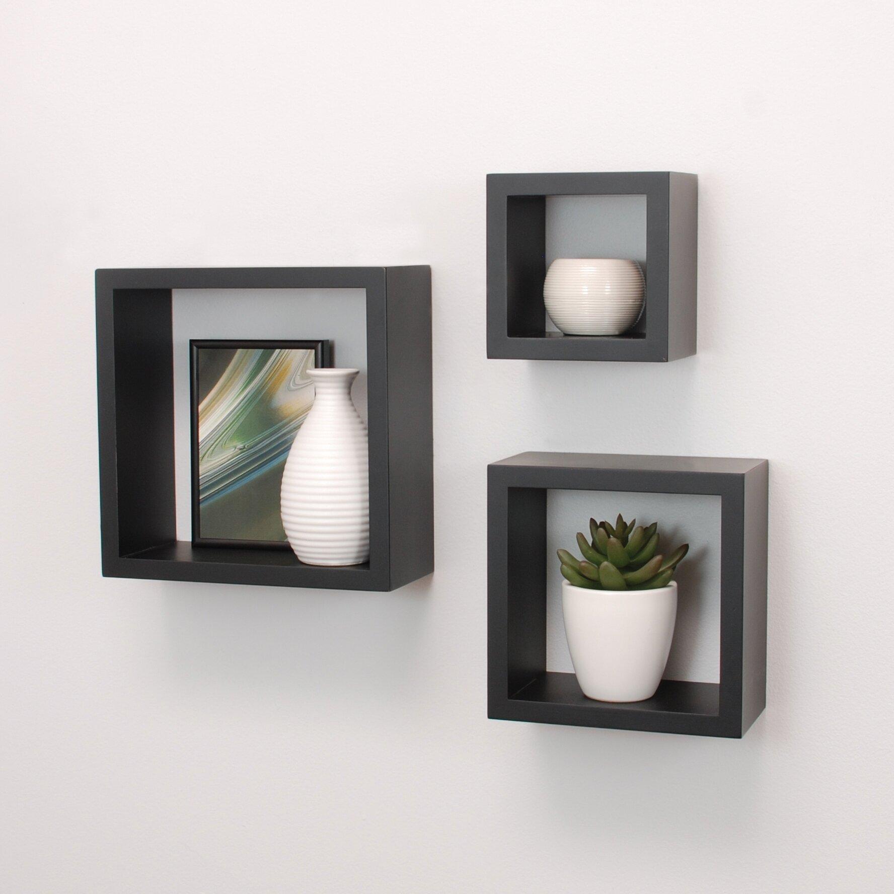 Nexxt design cubbi 3 piece wall shelf set reviews wayfair - Etageres cubes murales ...