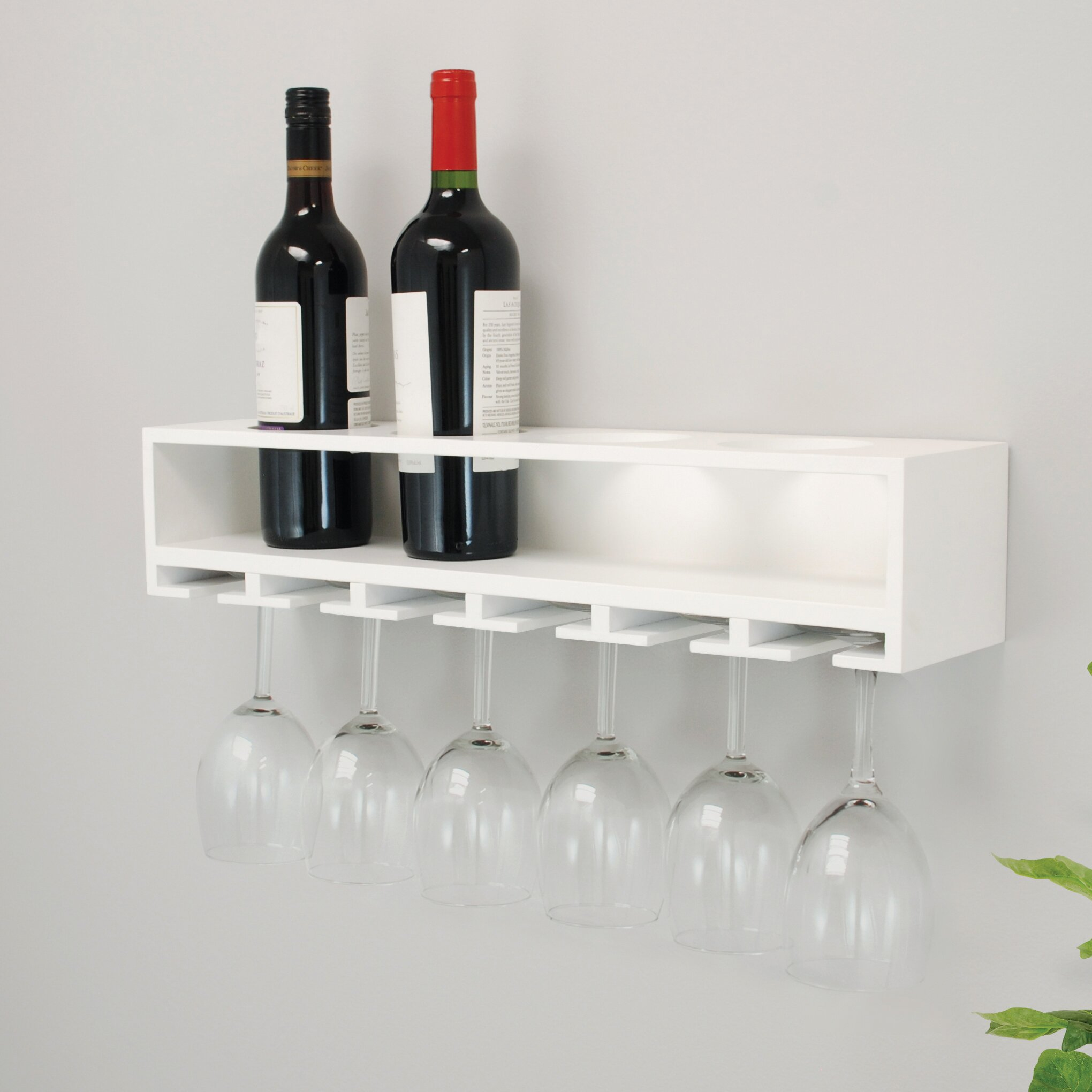 Nexxt Design Wall Mount Claret Wine Bottle And Wine Glass