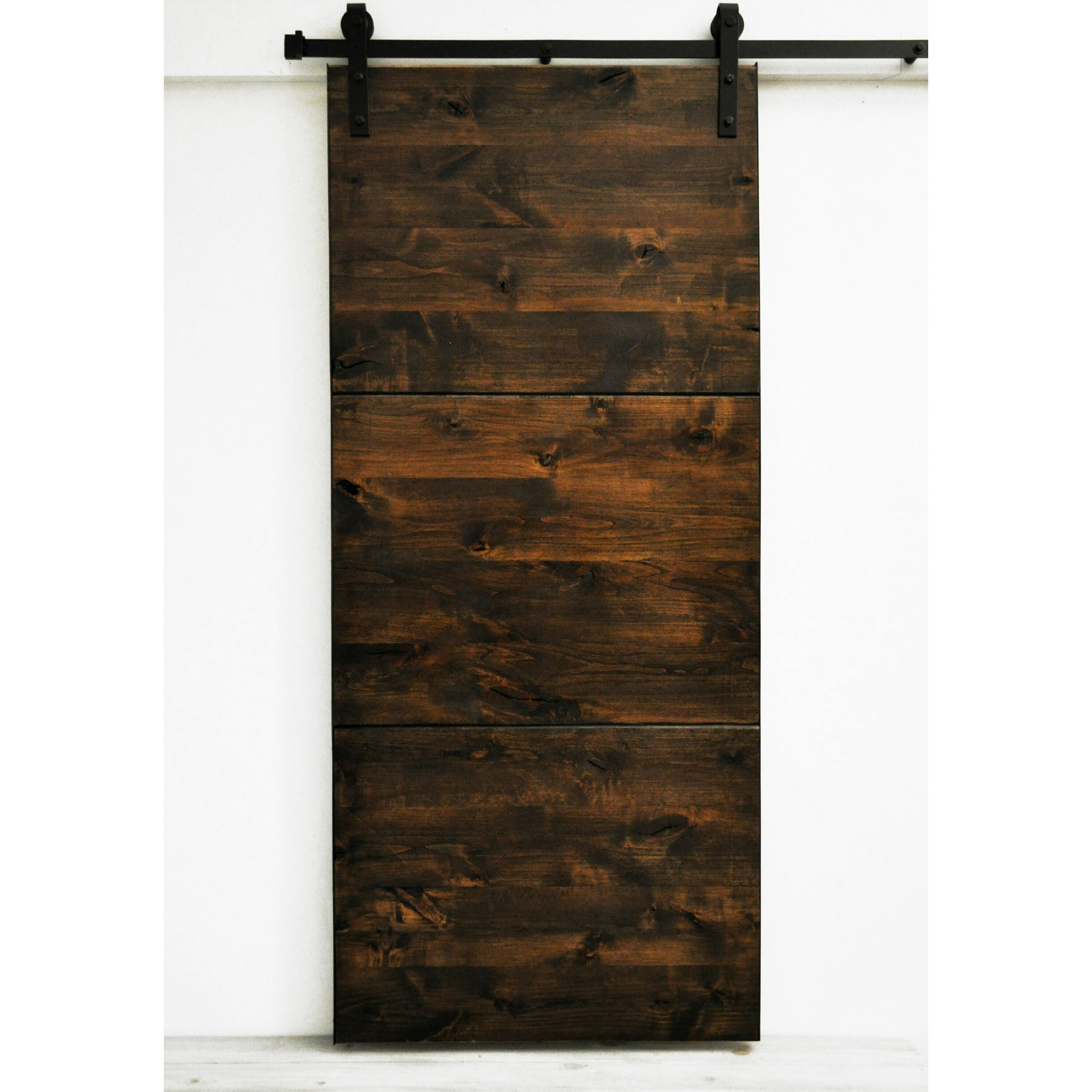 Dogberry collections modern slab wood 1 panel stained for Wood interior barn doors