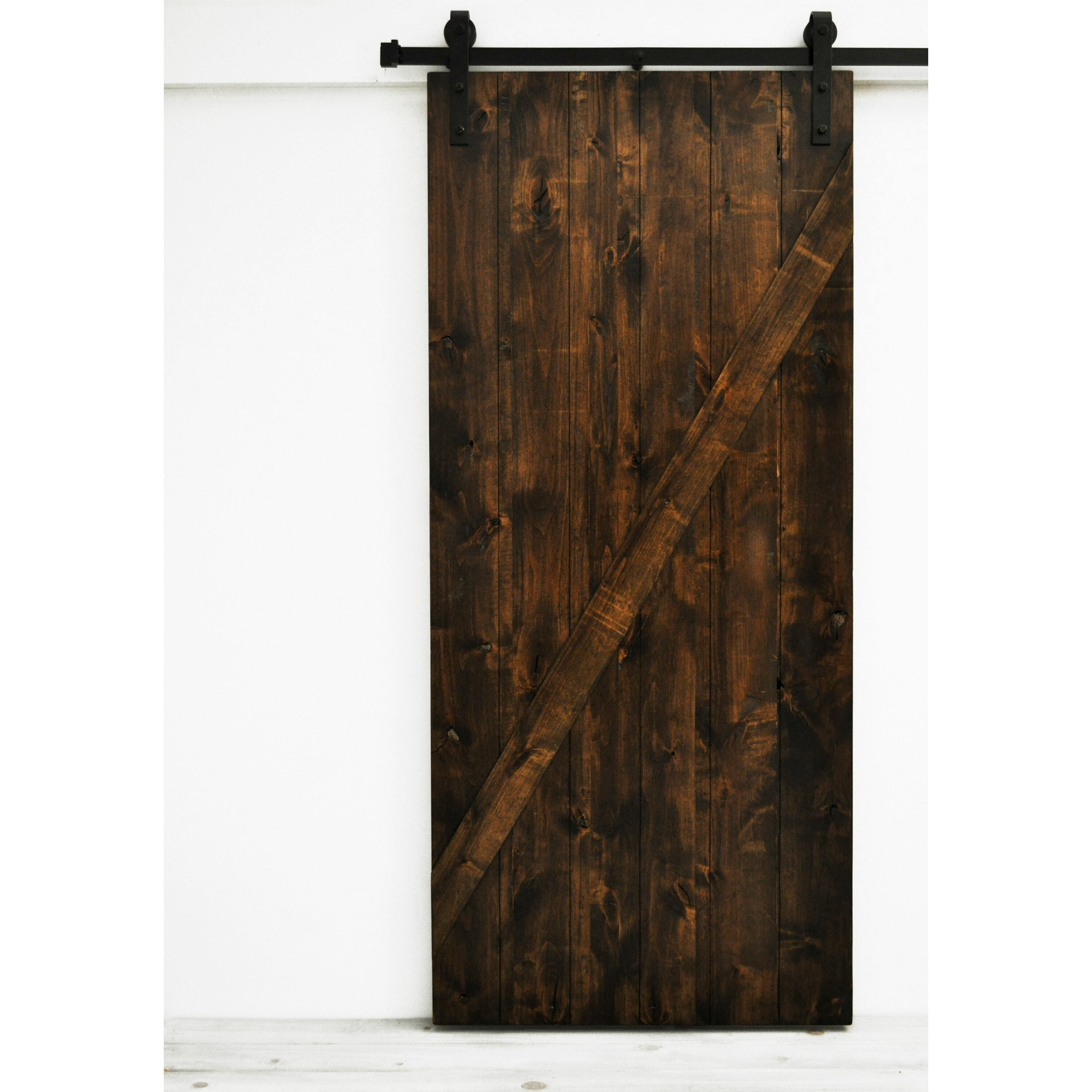 Wonderful image of Dogberry Collections Mod Z Wood 1 Panel Interior Barn Door Wayfair with #9C612F color and 3000x3000 pixels