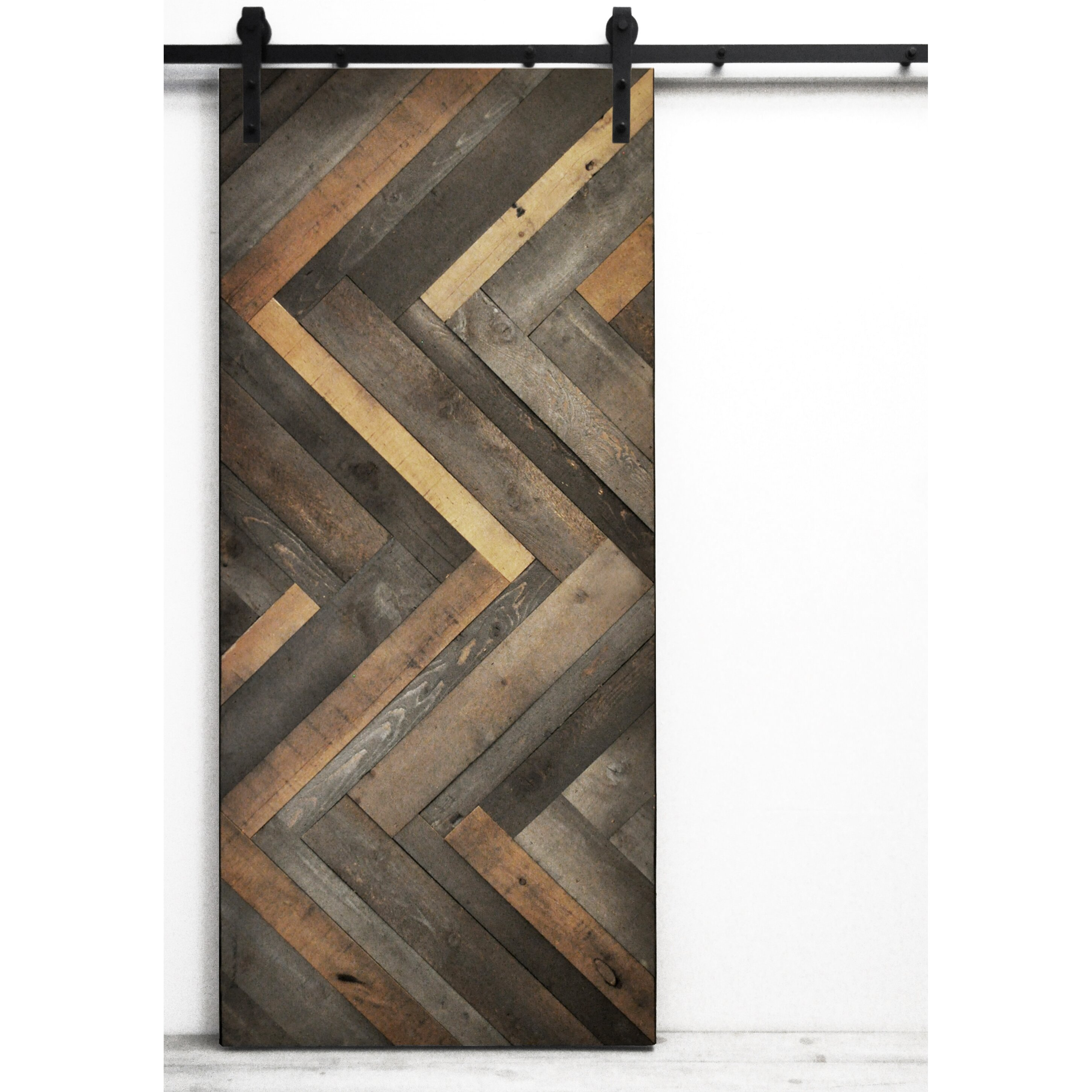Dogberry collections herringbone wood stained interior for Wood interior barn doors