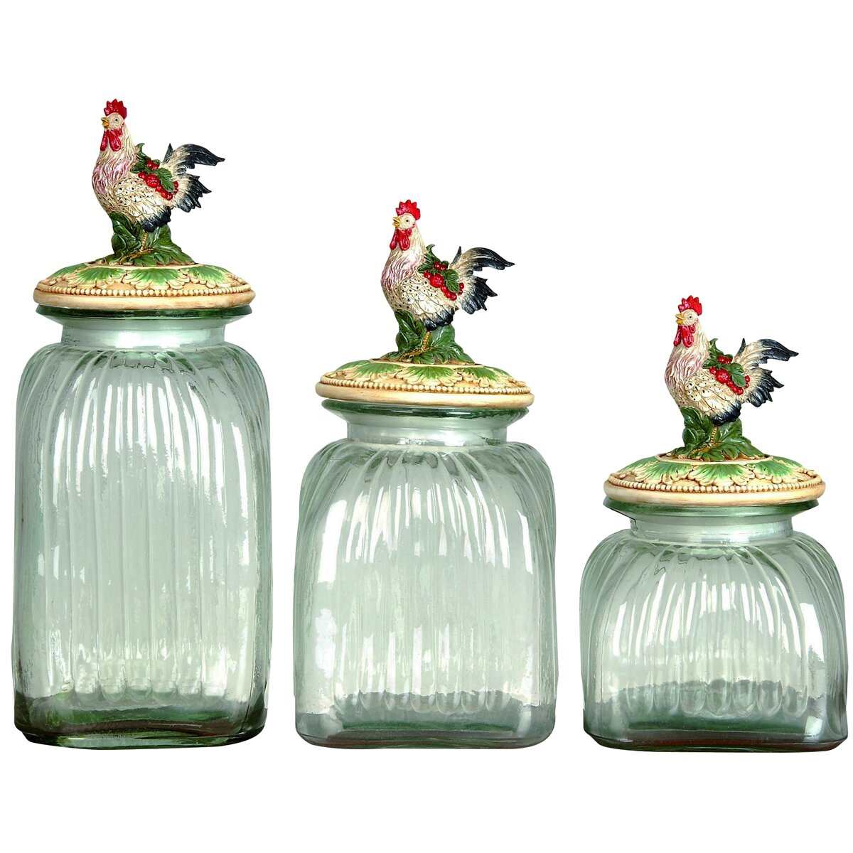 ec world imports 3 piece rooster lid glass canister set