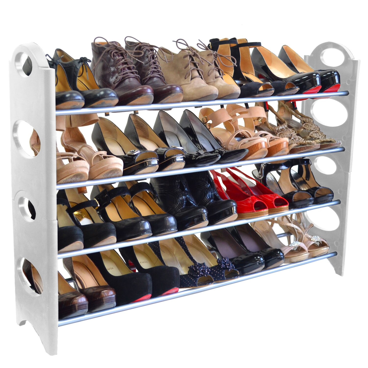 Linen Depot Direct 4 Tier Shoe Rack LIDD1002 on home office furniture depot
