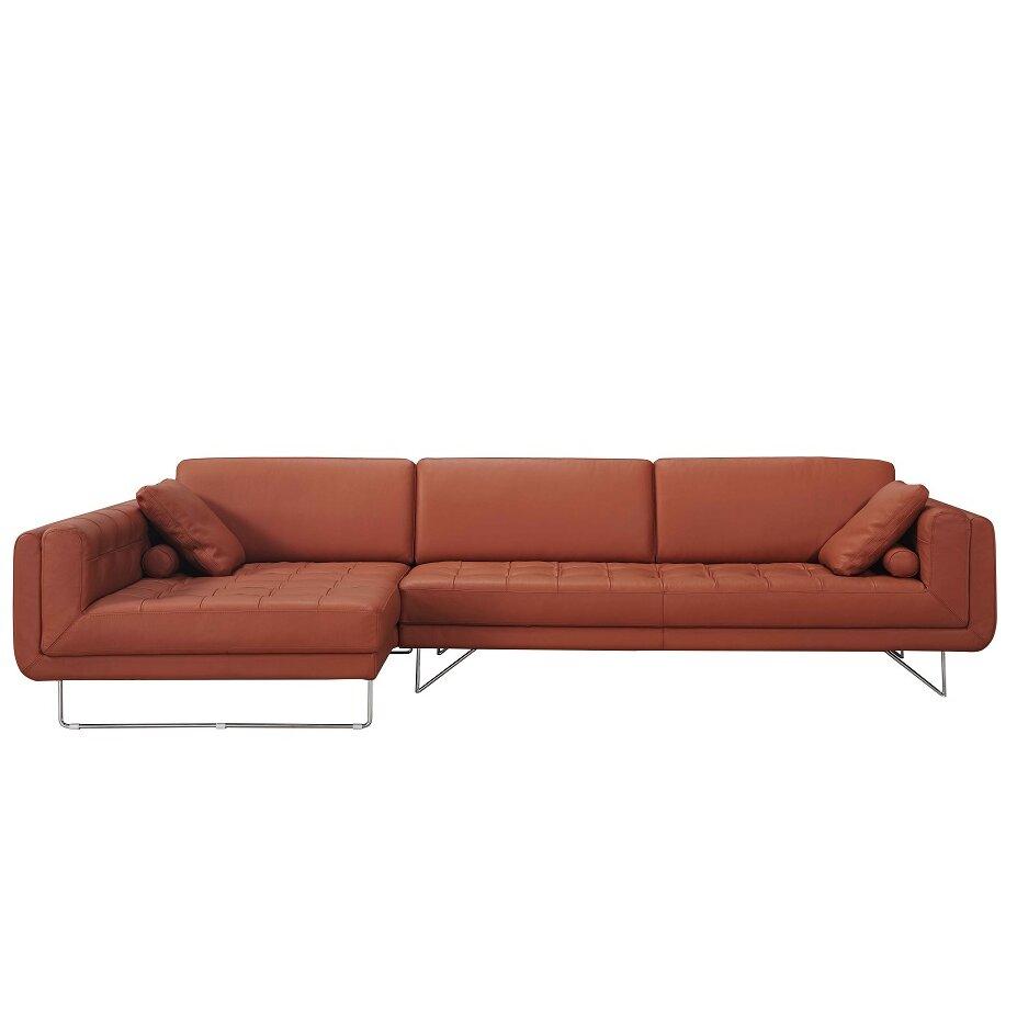J M Furniture Hampton Premium Leather Sectional Reviews Wayfair