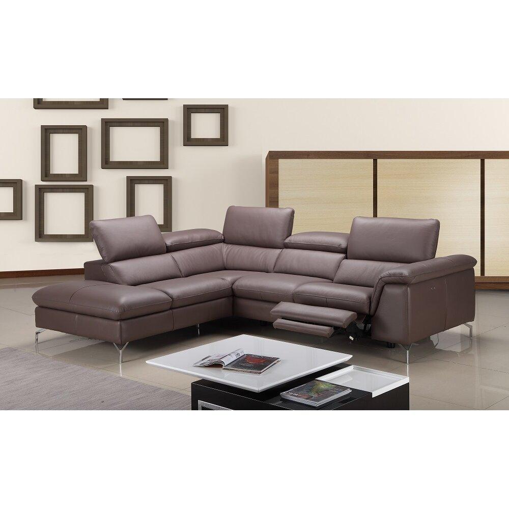 J M Furniture Anastasia Premium Leather Sectional Reviews Wayfair