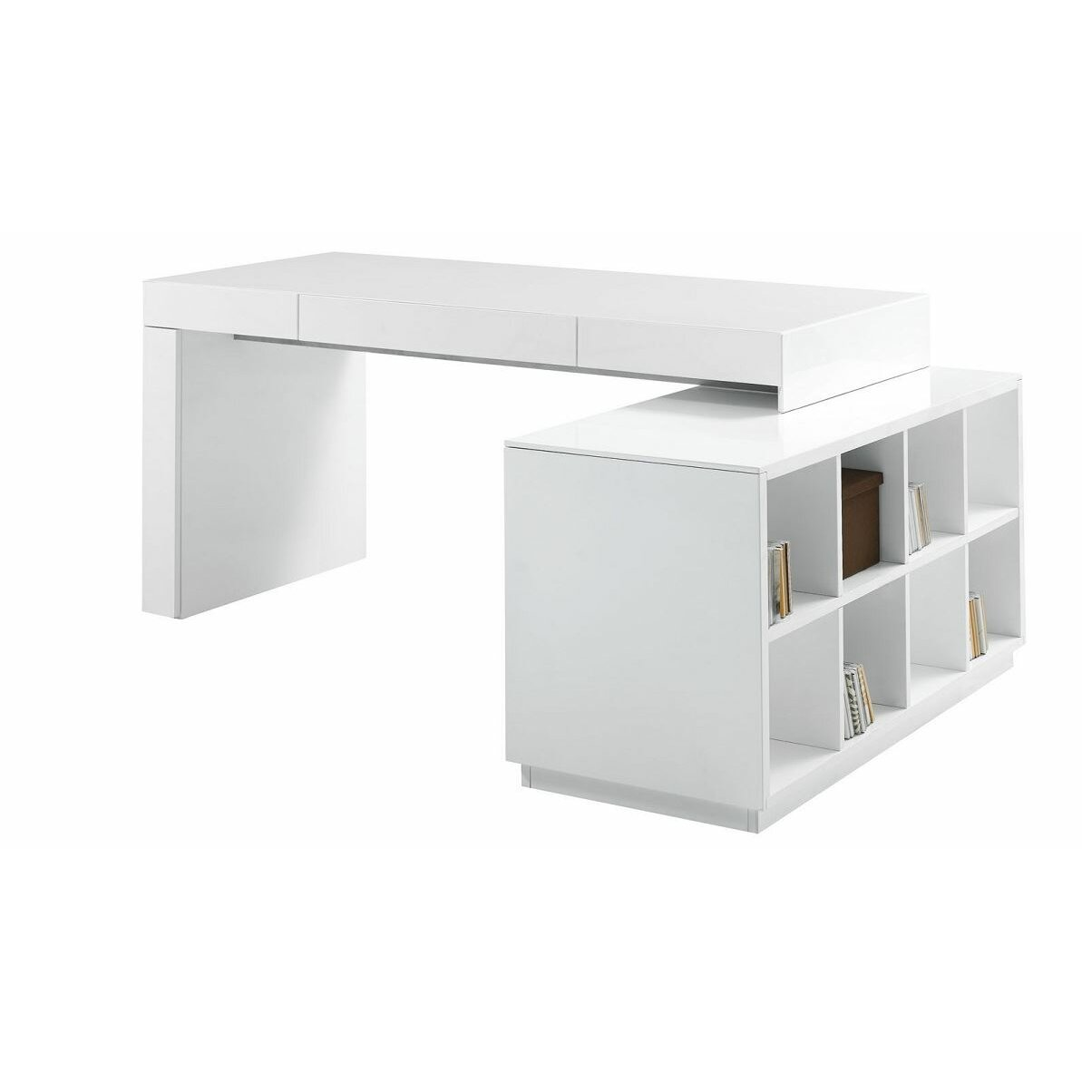 J m furniture modern computer desk with hutch reviews for Modern office furniture desk