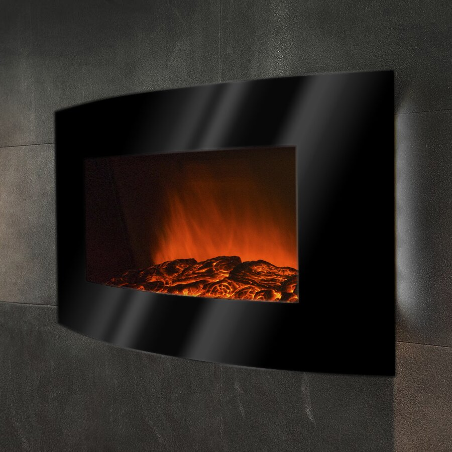 Goldenvantage curved wall mount electric fireplace for Curved wall