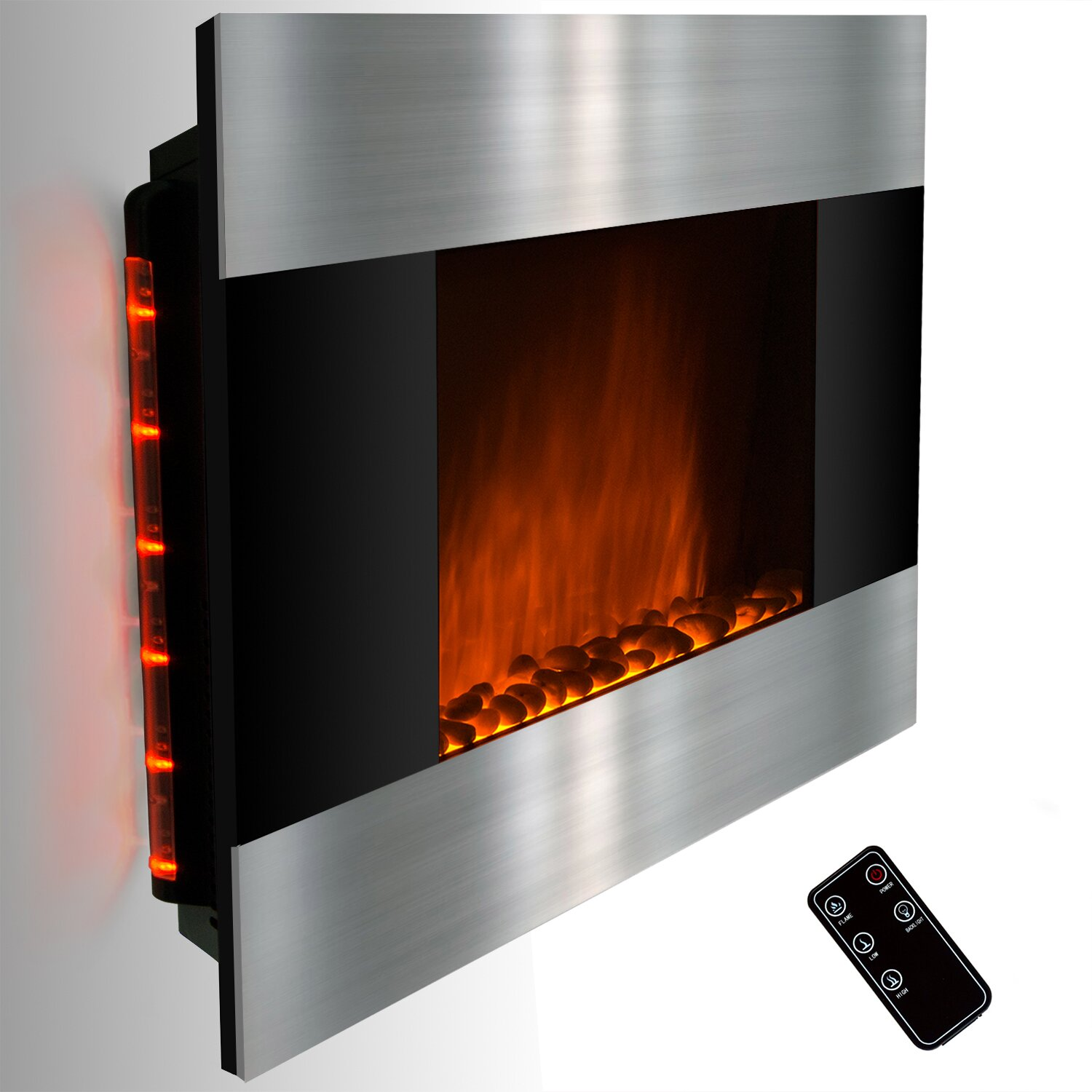 Goldenvantage Stainless Steel And Black Wall Mount Electric Fireplace Reviews Wayfair