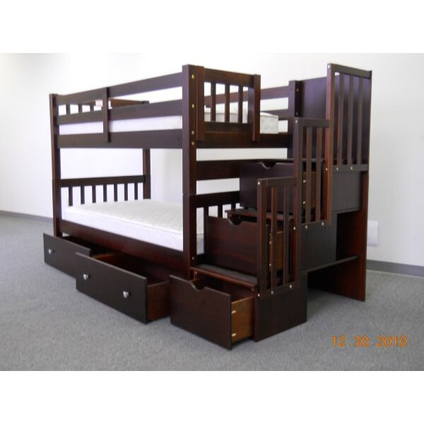 bedz king twin over twin bunk bed with trundle and storage reviews wayfair. Black Bedroom Furniture Sets. Home Design Ideas