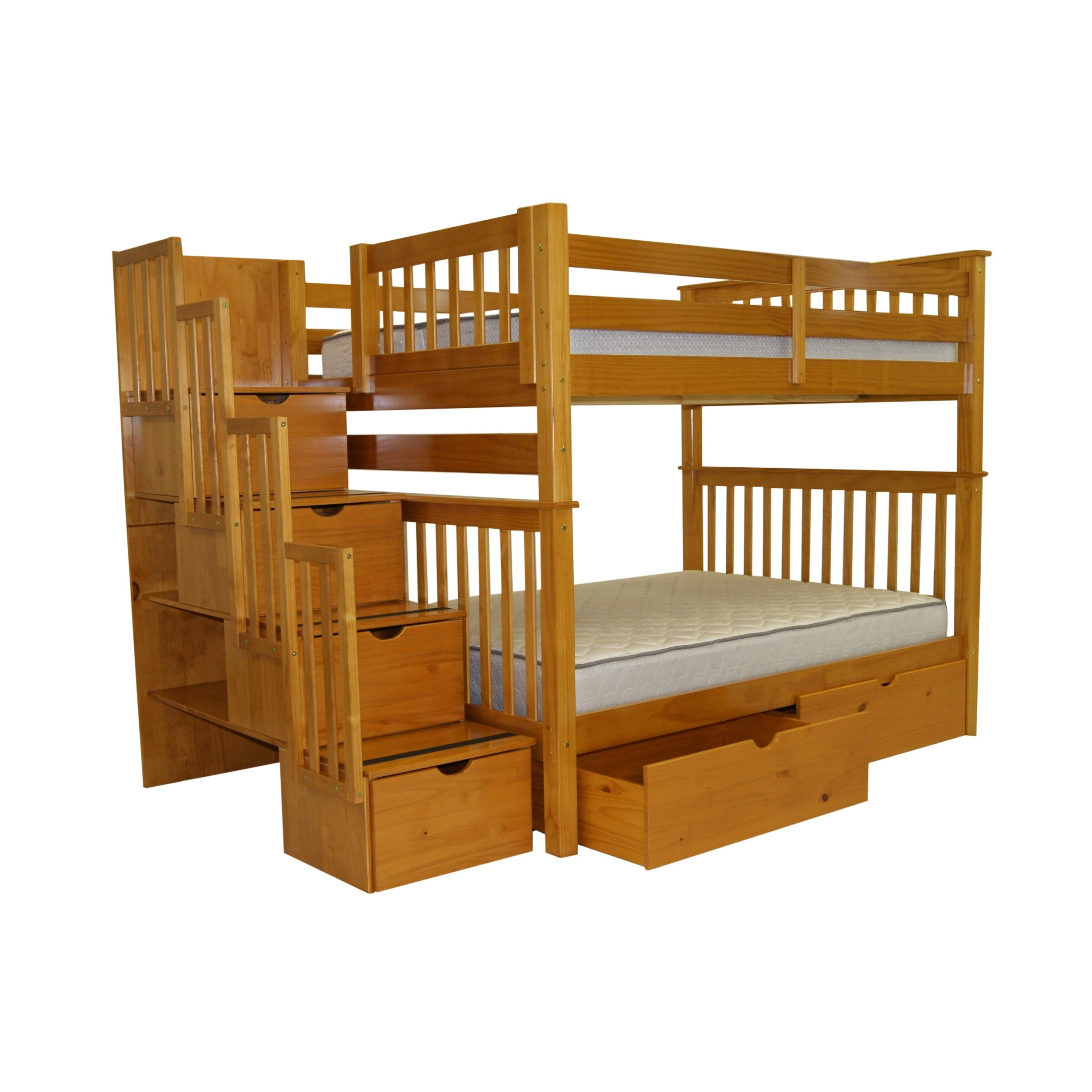 Bedz King Full Over Full Bunk Bed With Storage Reviews