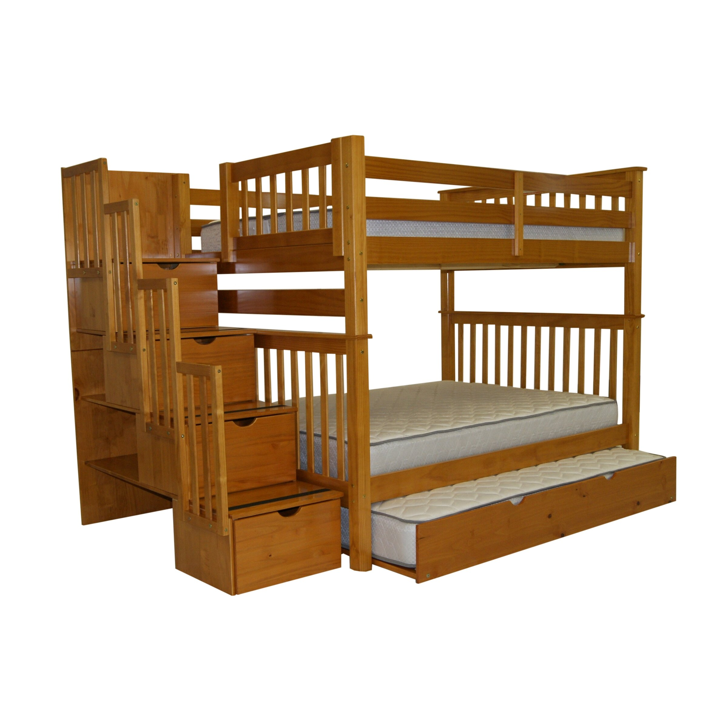 Bedz King Full Over Full Bunk Bed With Trundle Amp Reviews