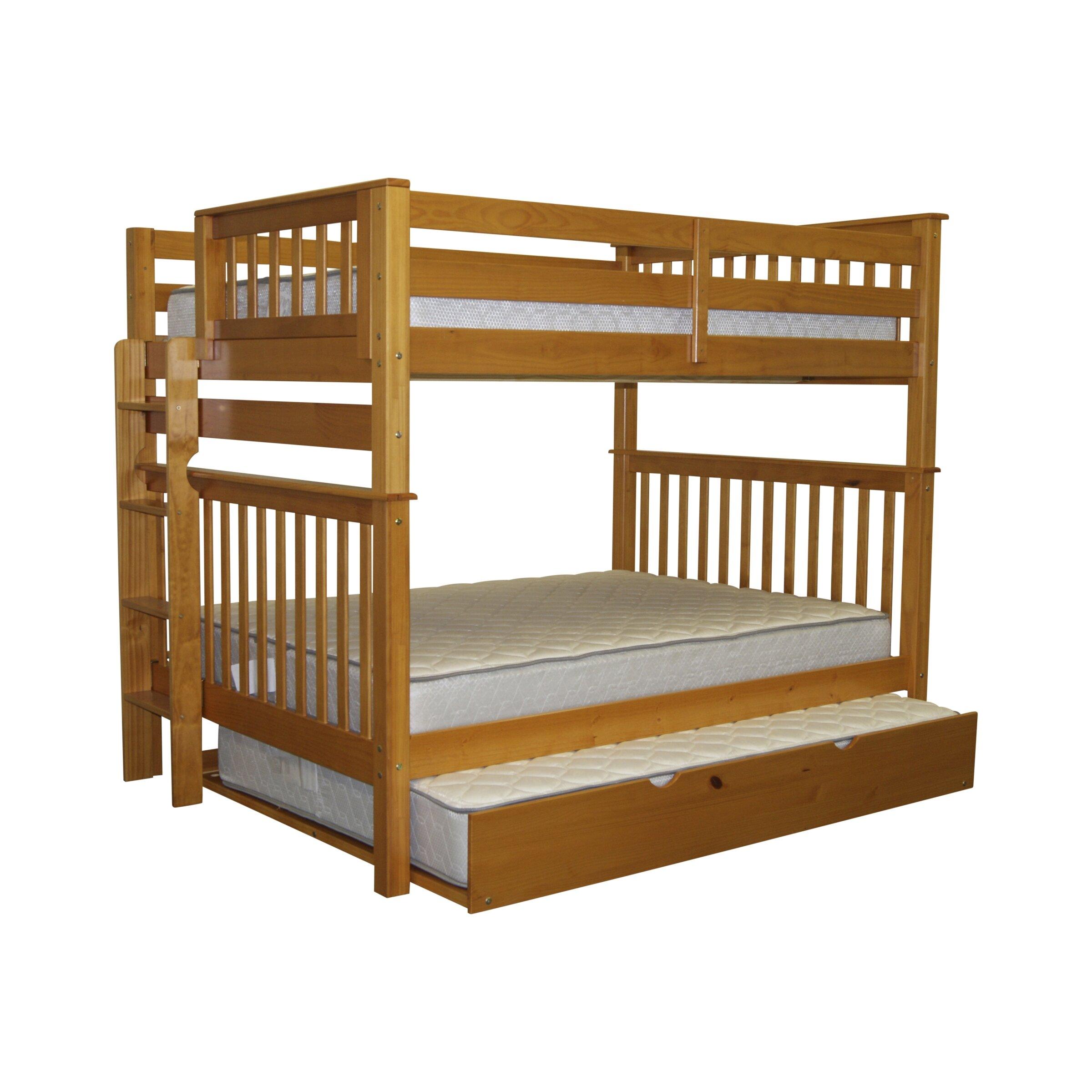 bedz king mission full over full bunk bed with trundle reviews wayfair. Black Bedroom Furniture Sets. Home Design Ideas