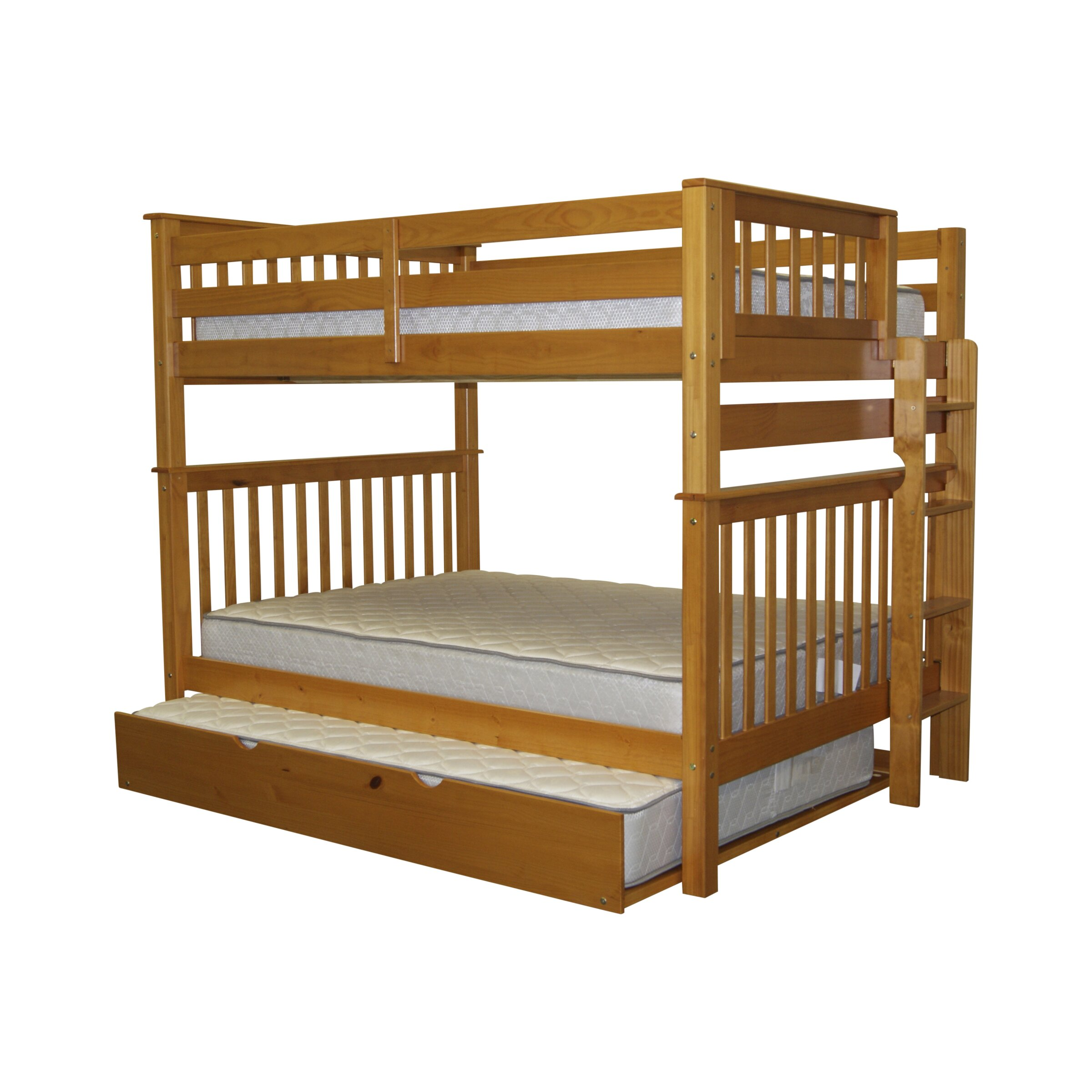 Bedz King Mission Full Over Full Bunk Bed With Trundle