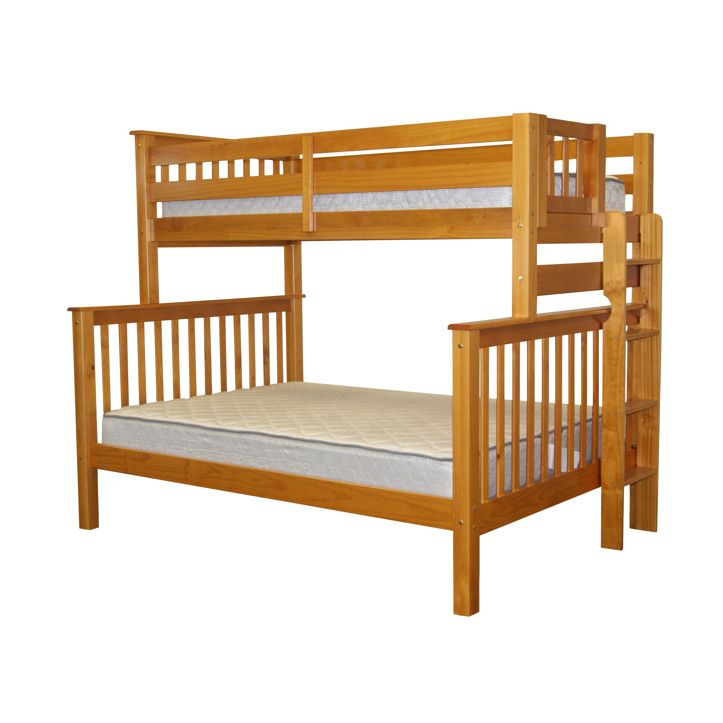Bedz king mission twin over full bunk bed with trundle for Beds with trundle
