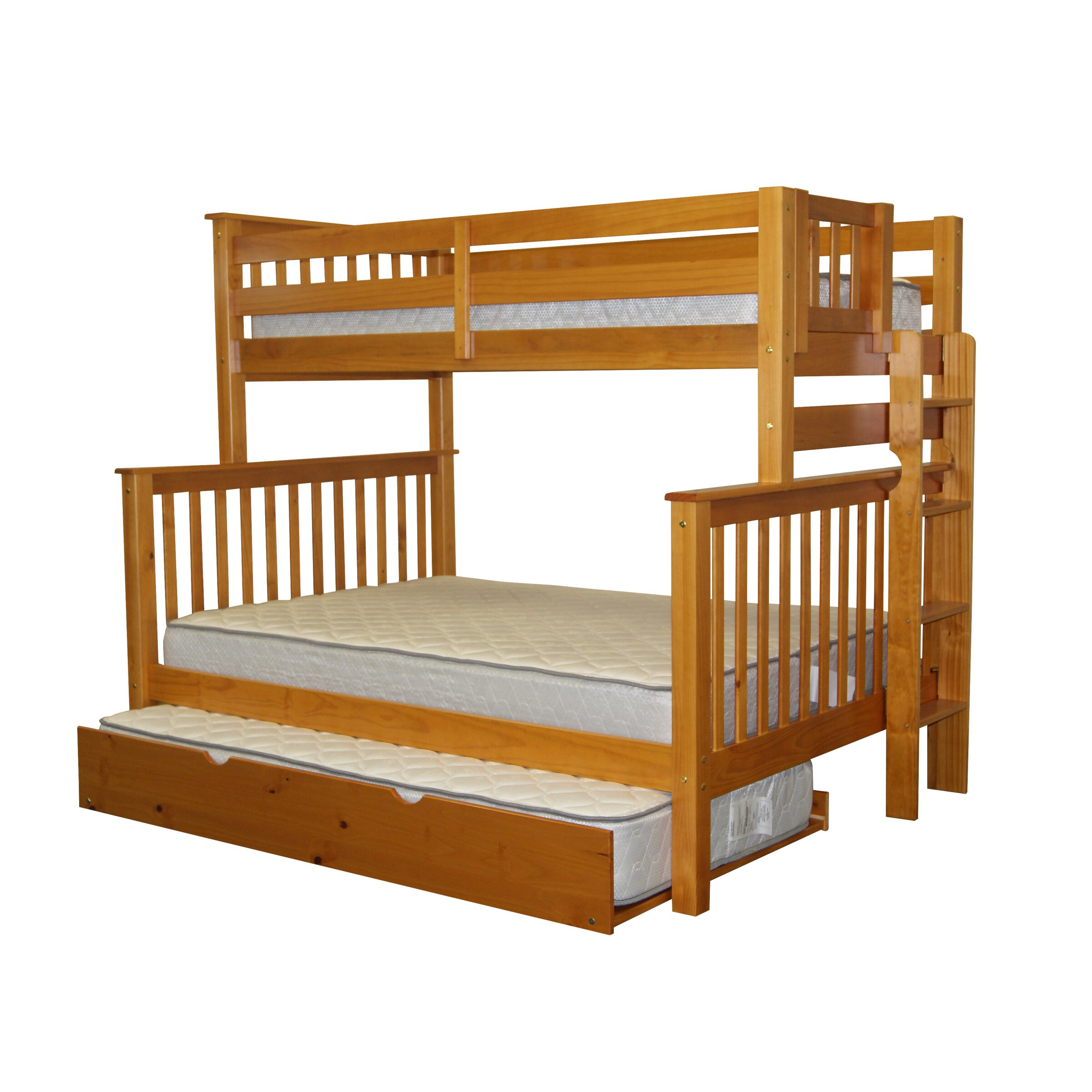 Bedz King Mission Twin Over Full Bunk Bed With Trundle