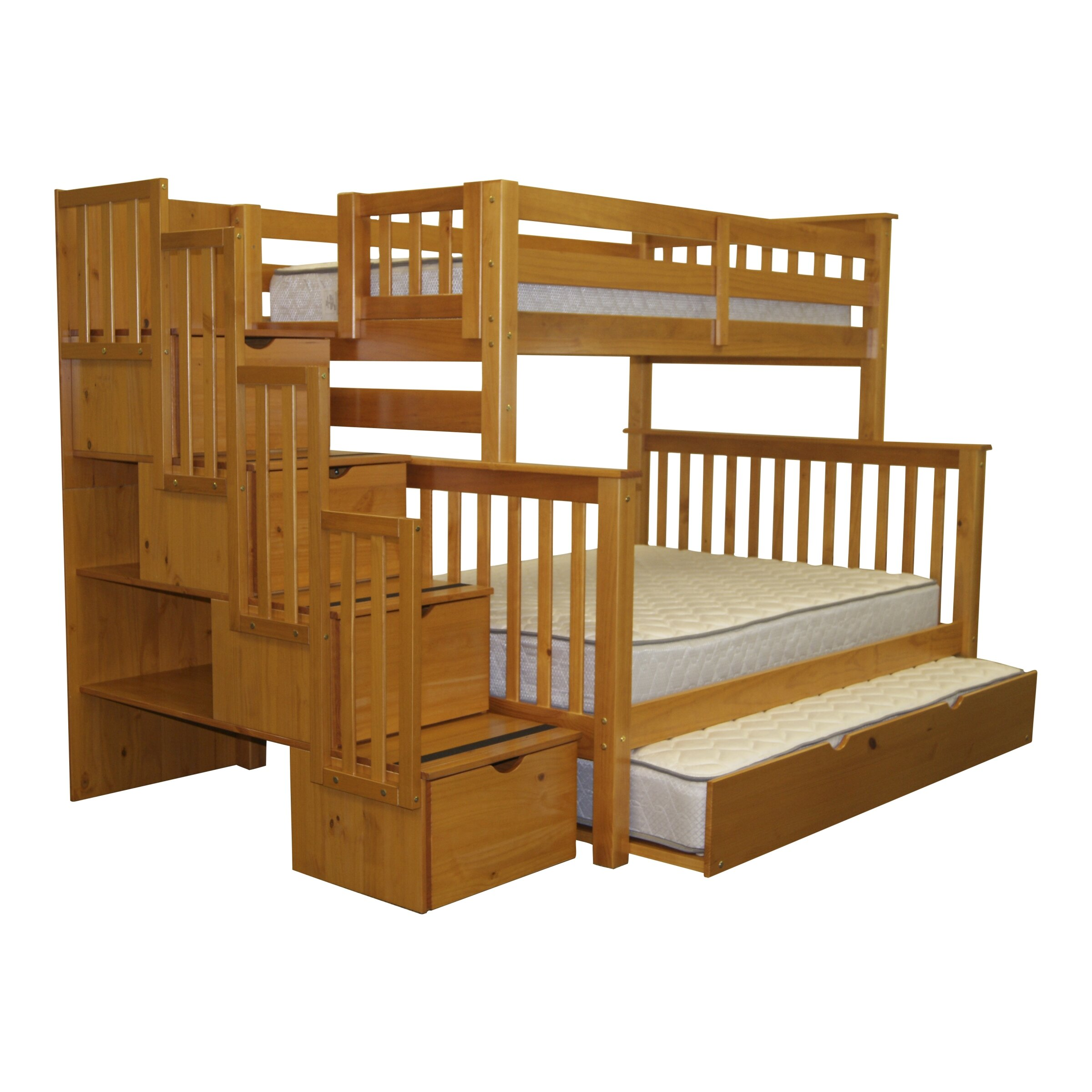 Bedz king twin over full bunk bed with trundle reviews for King size bunk bed