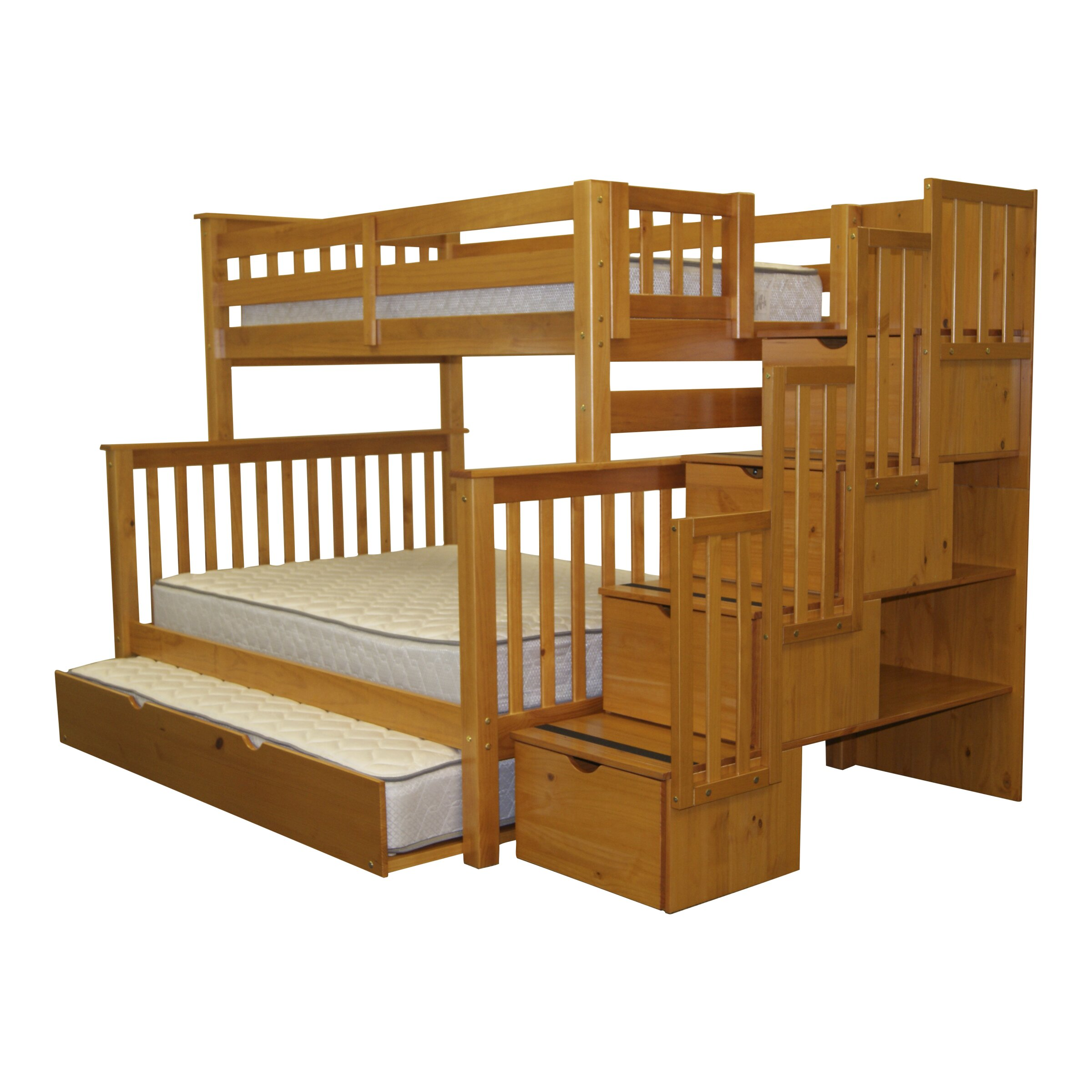 Bedz King Twin Over Full Bunk Bed With Trundle Reviews