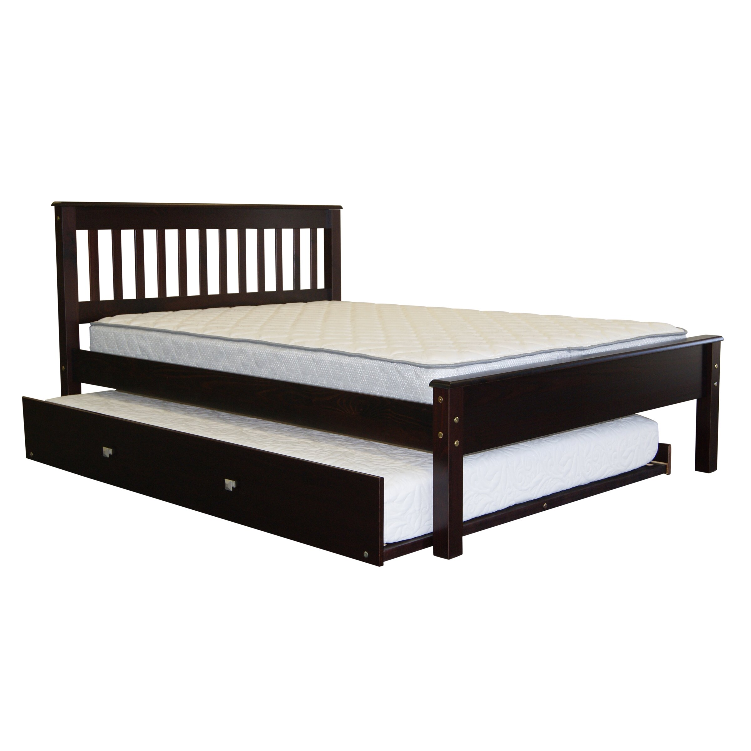 Bedz king missionfull slat bed with trundle reviews for Full bed with mattress included