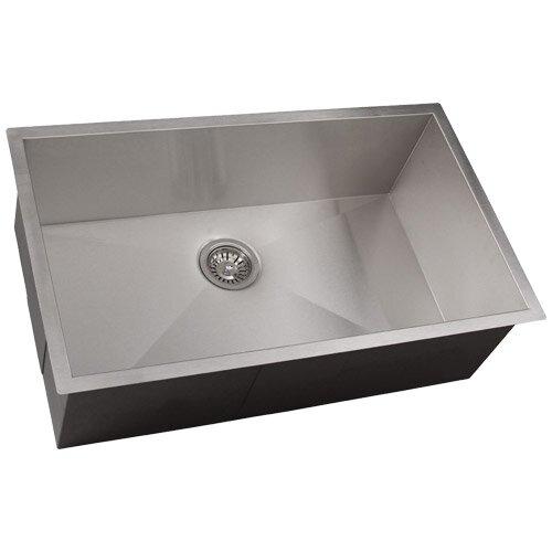 Ticor sinks zero radius 30 l x 19 w kitchen sink - Square stainless steel bathroom sink ...