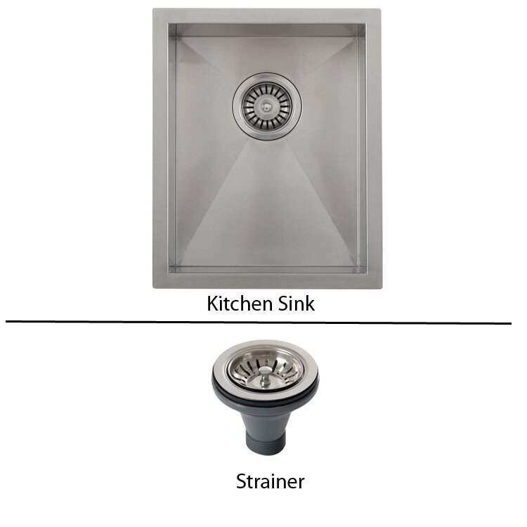 Ticor sinks ticor 14 x 17 1 2 inch zero radius 16 gauge - Square stainless steel bathroom sink ...