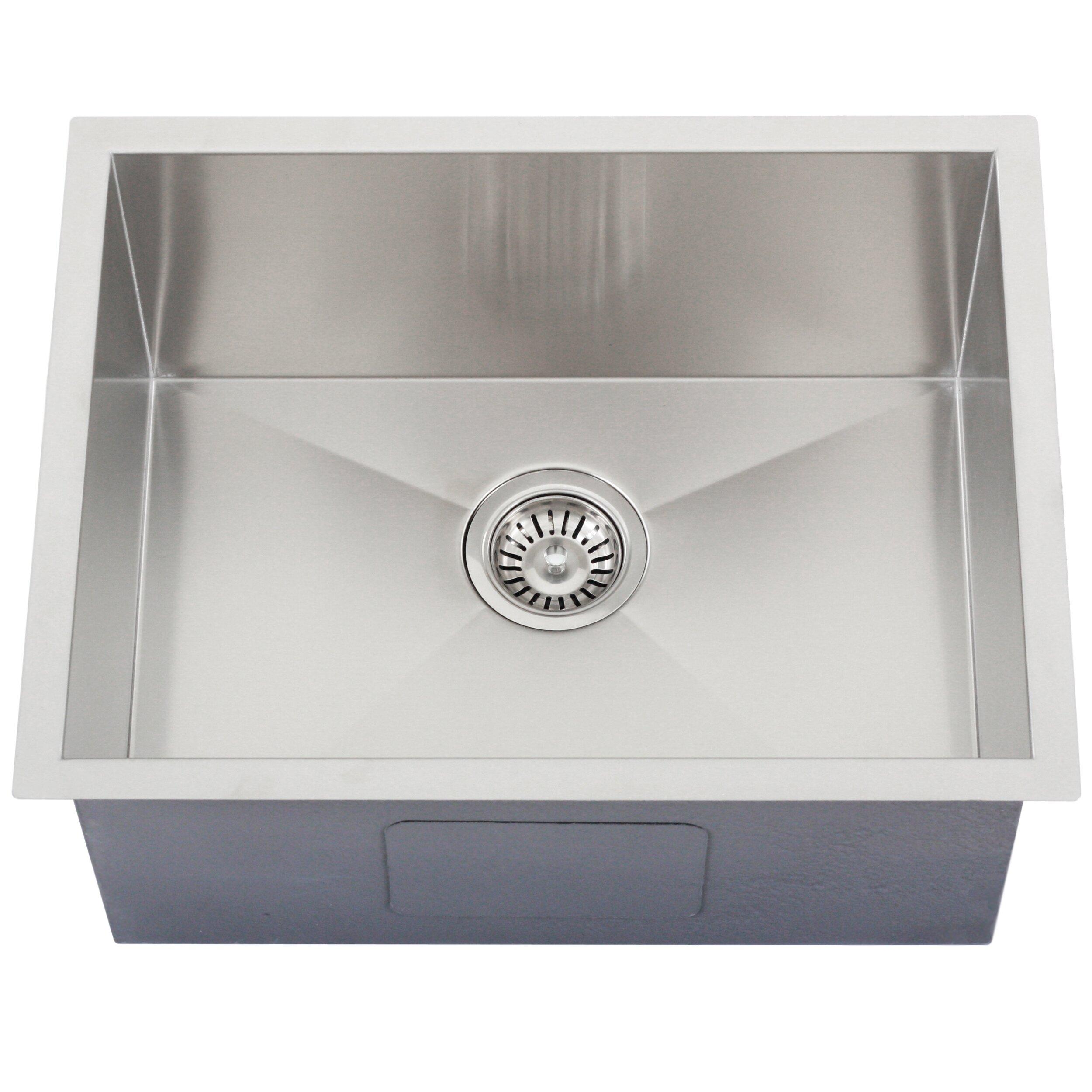 Ticor sinks ticor 22 1 2 x 17 1 2 inch zero radius 16 - Square stainless steel bathroom sink ...