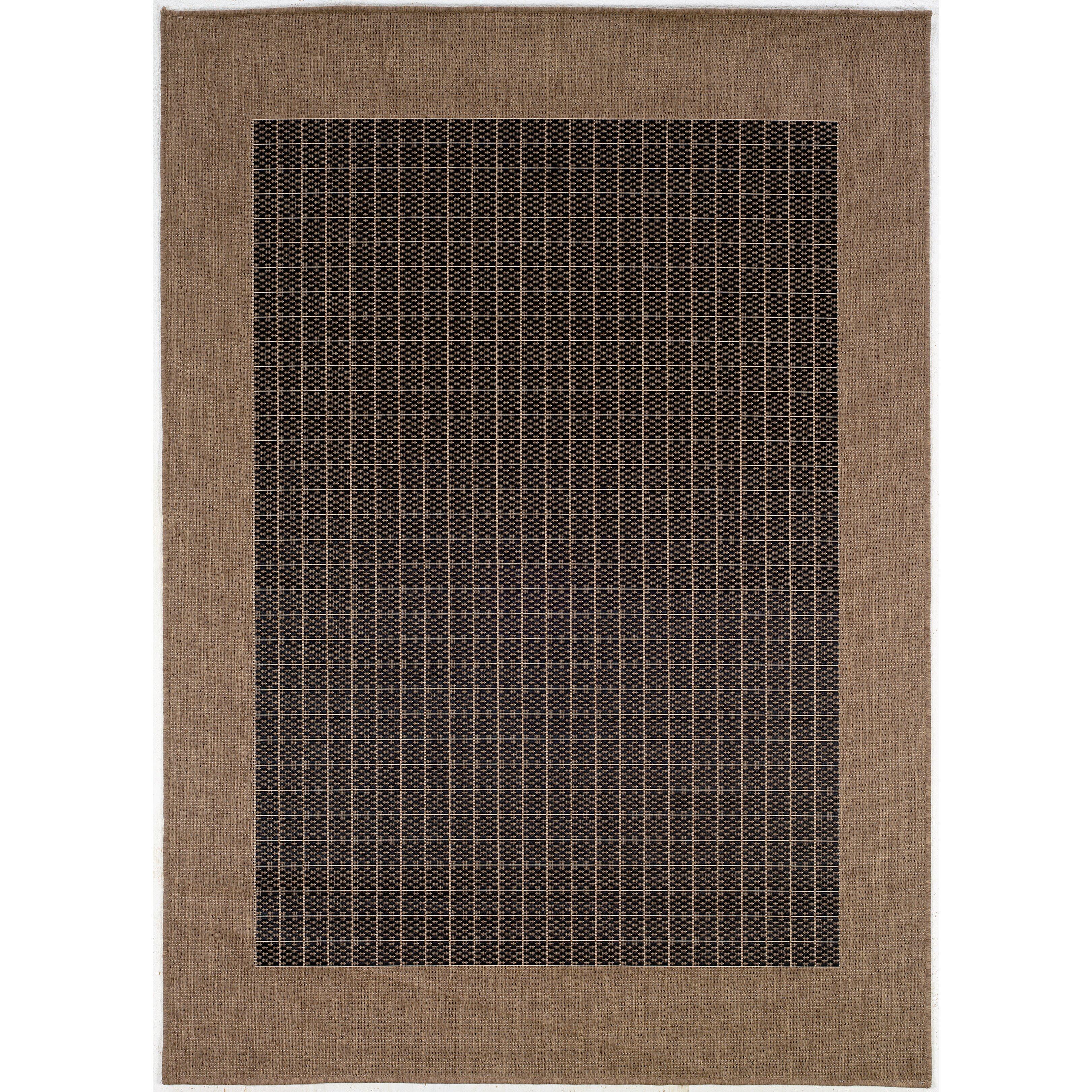 Checked Area Rugs: Couristan Recife Checkered Field Black Cocoa Indoor