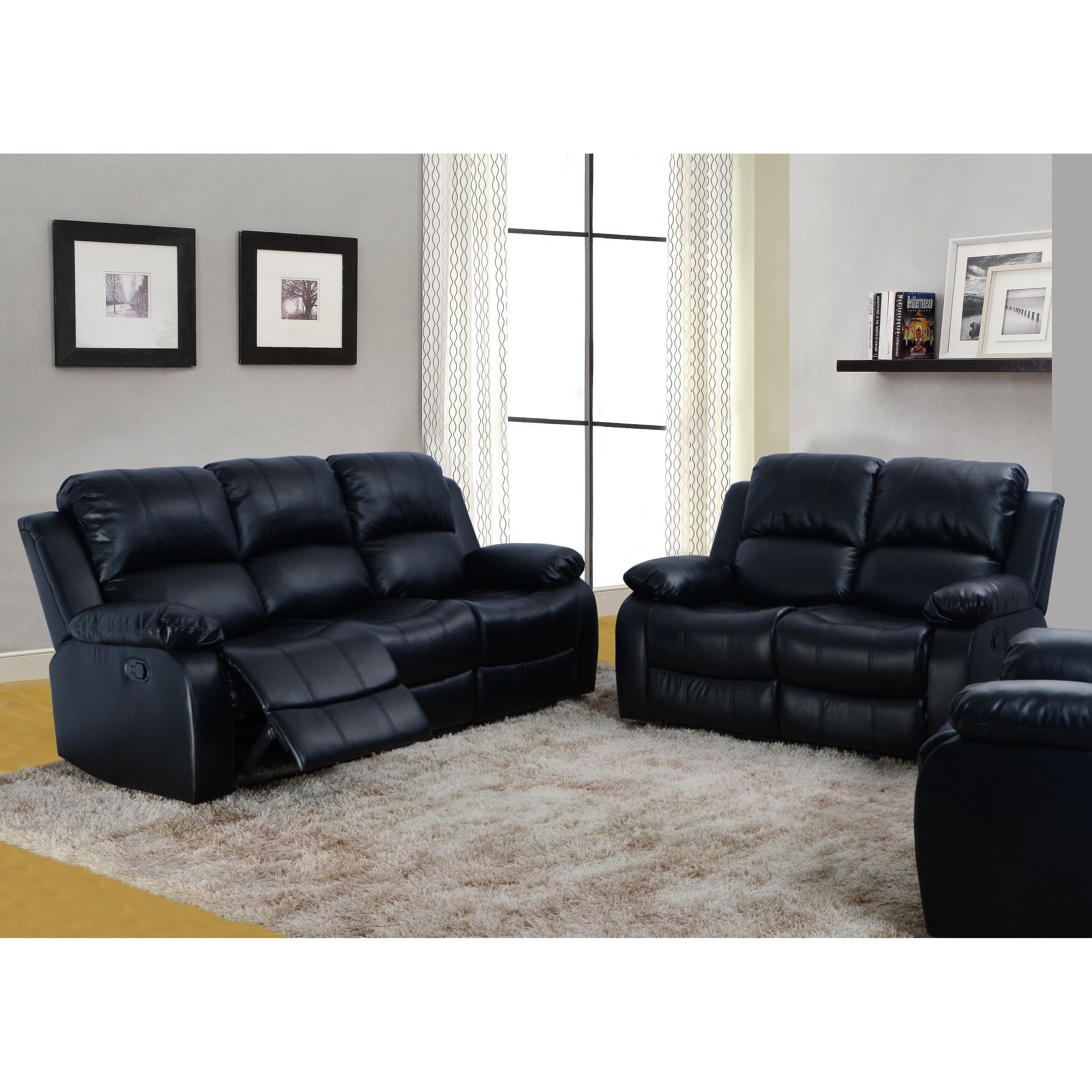 terrific black leather living room set   Beverly Fine Furniture Denver 2 Piece Bonded Leather ...