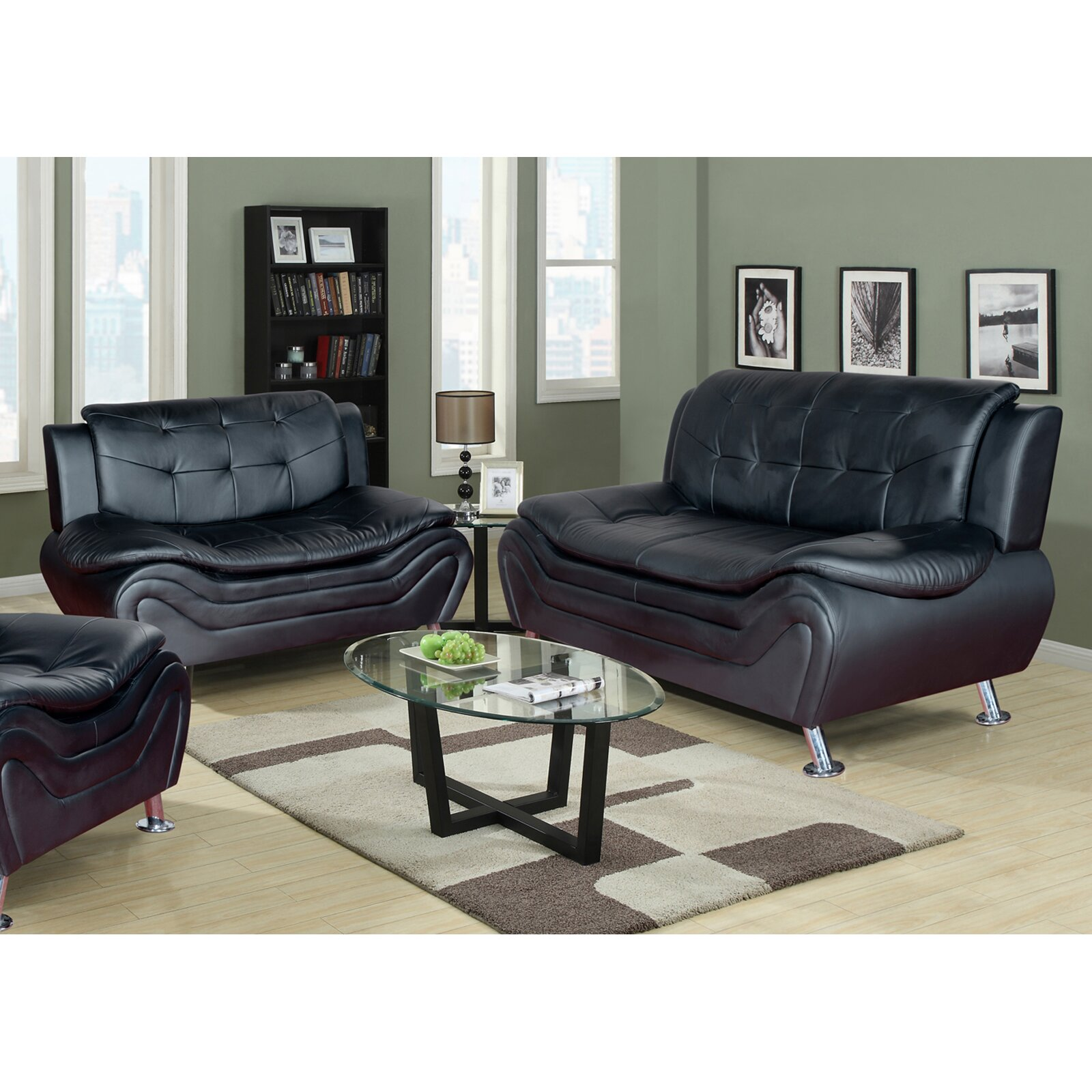 Beverly Fine Furniture Linda Leather Sofa and Loveseat Set ...