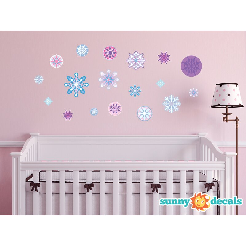 sunny decals frozen inspired snowflake fabric wall decal reviews wayfair. Black Bedroom Furniture Sets. Home Design Ideas