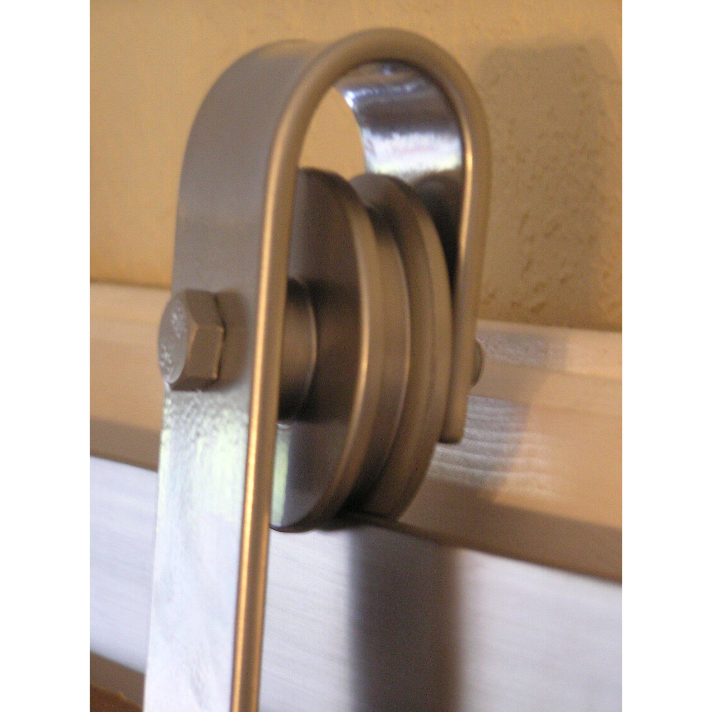 Agave ironworks barn door rolling hardware kit wayfair for Rolling barn door hardware