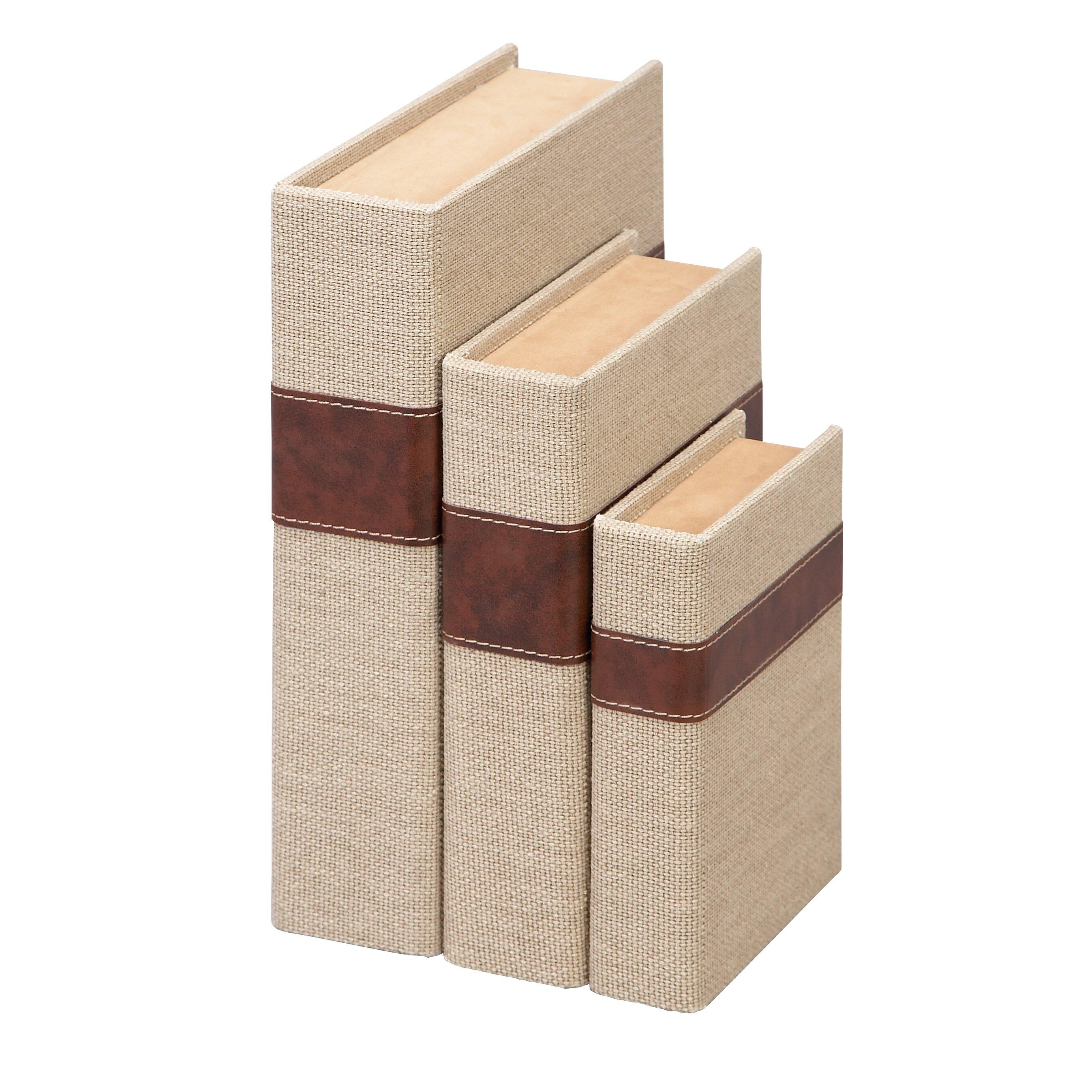 Cole grey 3 piece book box set reviews wayfair for Decor containers coles