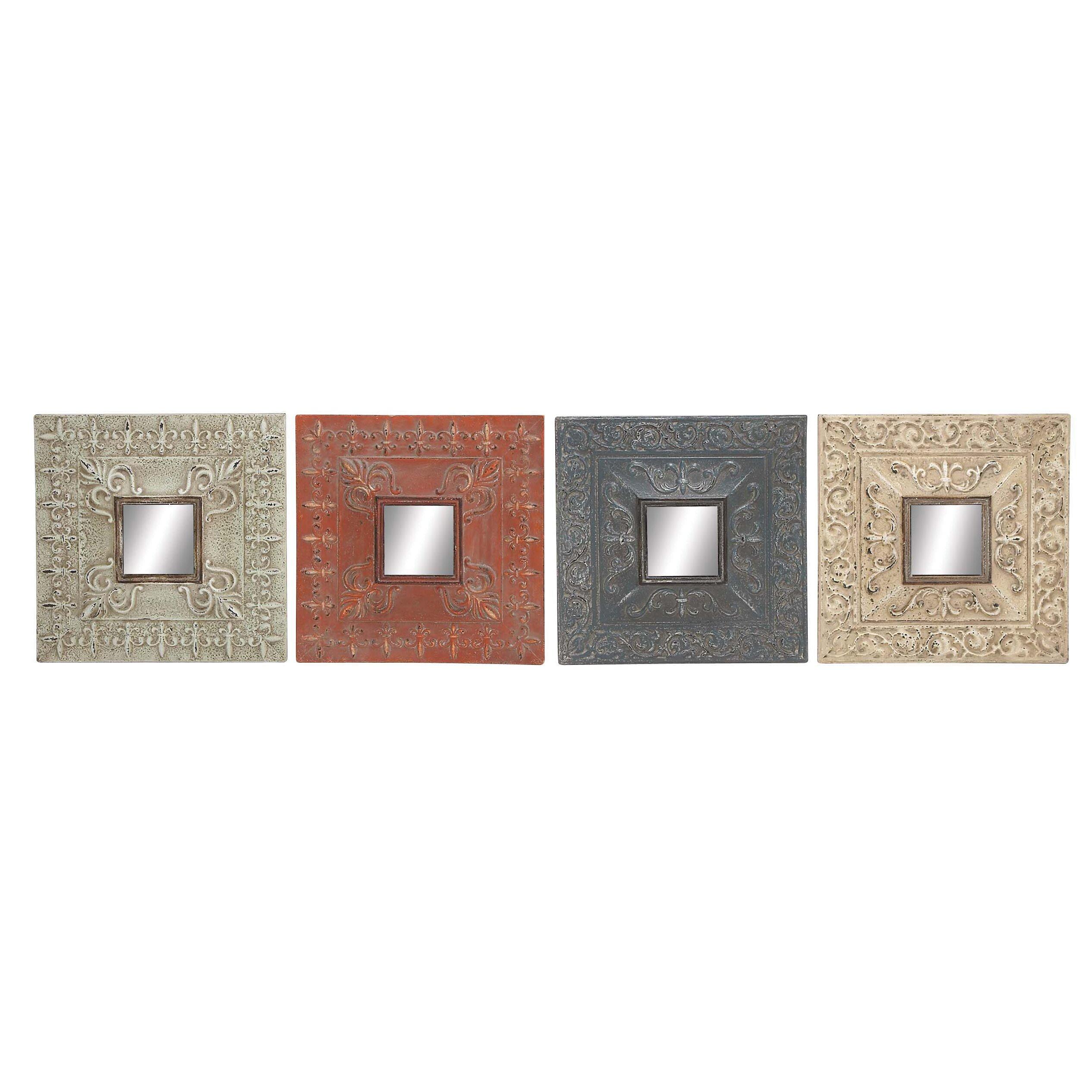 4 Piece Giolla Wall Decor Set : Cole grey piece metal mirror wall decor set reviews
