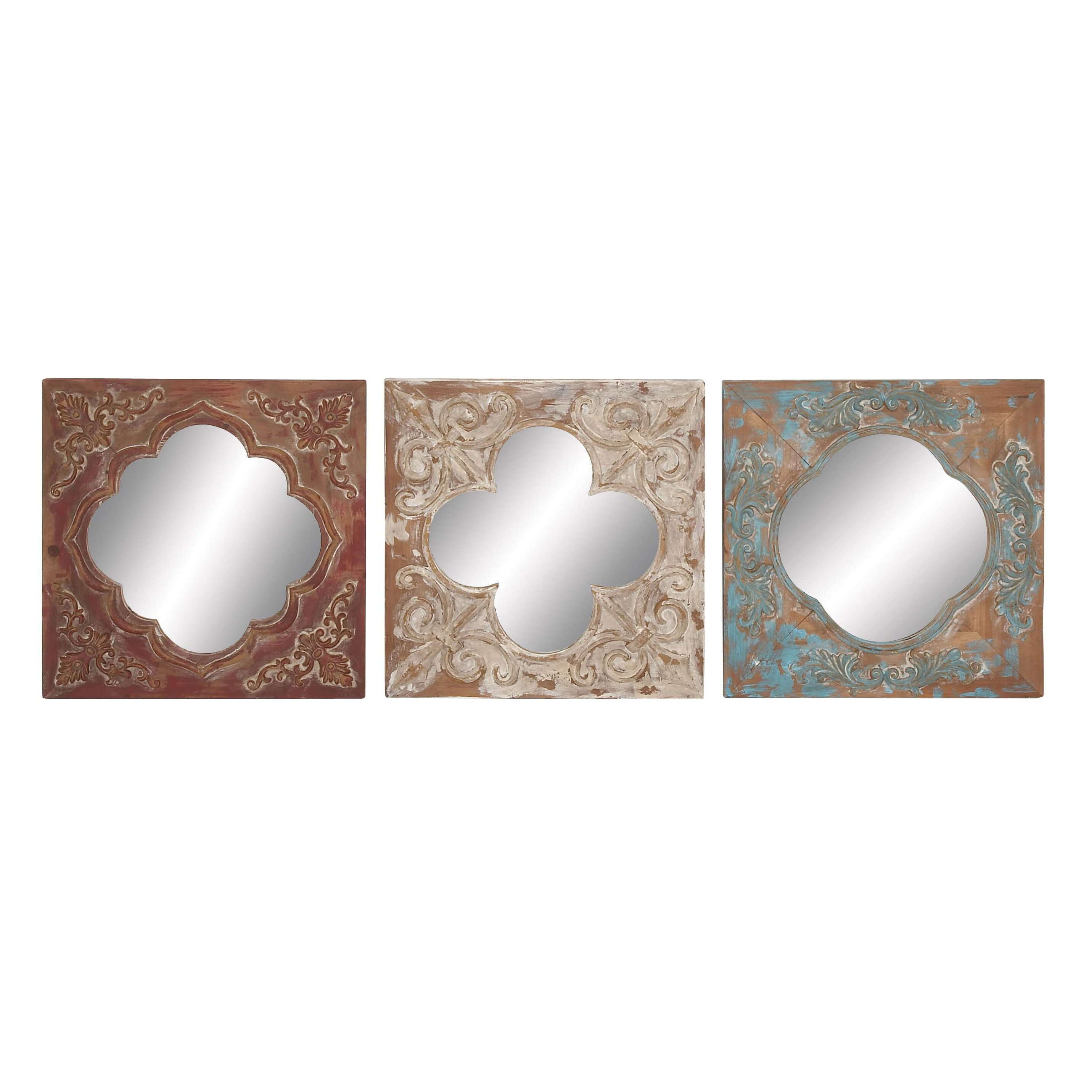 Mirror Wall Decor Set Of Three : Cole grey piece metal wood and mirror wall decor set