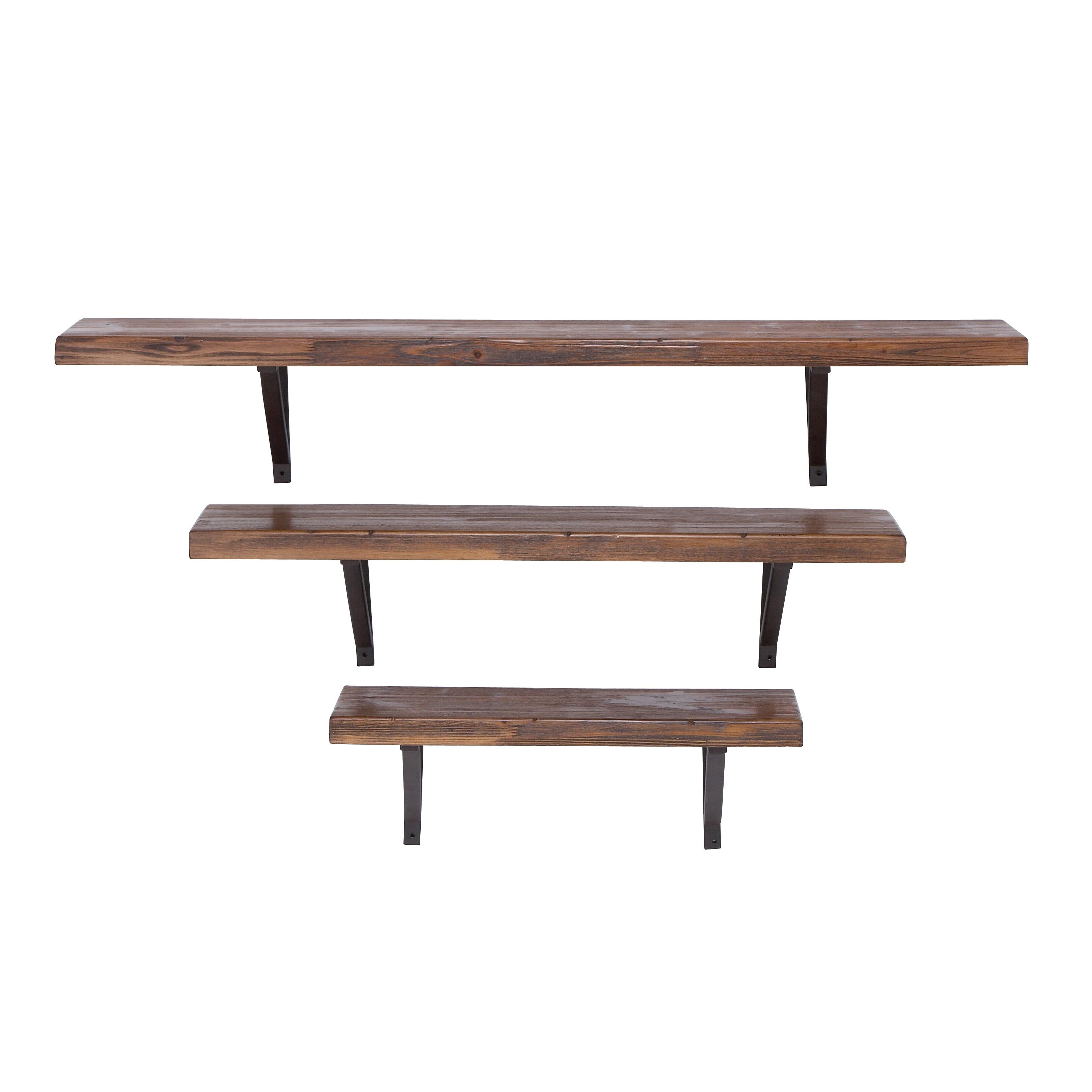 Cole grey 3 piece metal wall shelf set reviews wayfair - Wall metal shelf ...