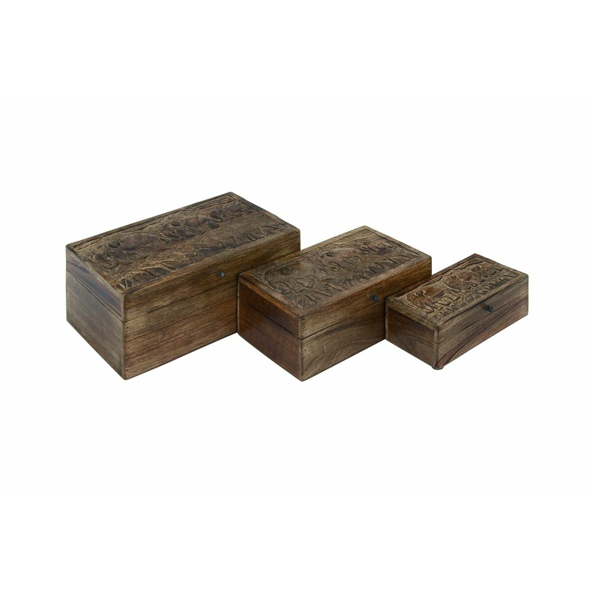 Cole grey 3 piece wood box elephants set wayfair for Decor containers coles