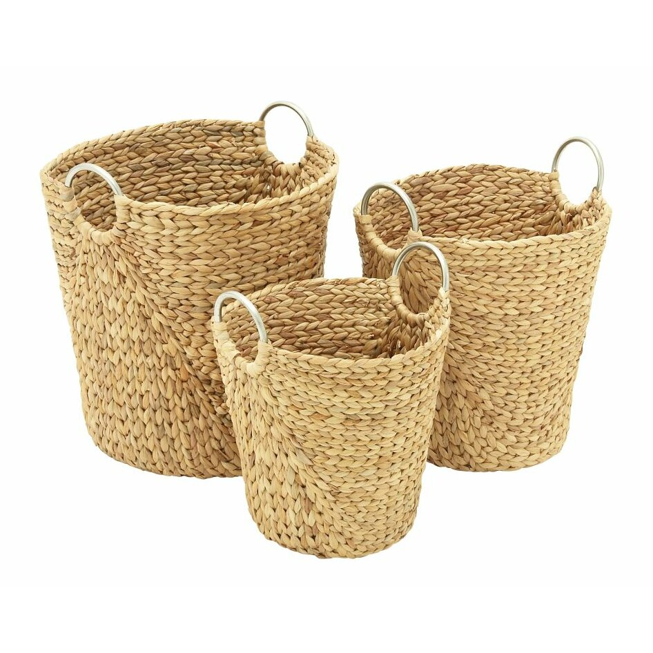 Cole grey 3 piece seagrass basket set wayfair for Decor containers coles