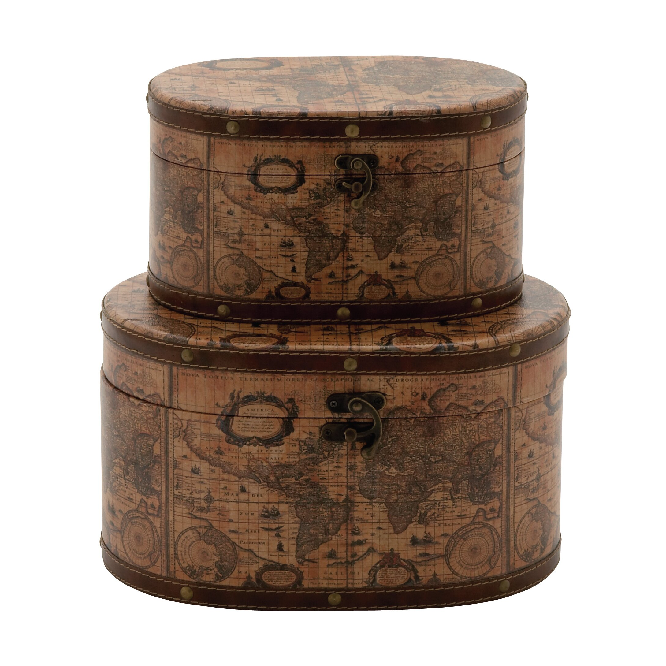 Cole grey 2 piece wood box set reviews wayfair for Decor containers coles