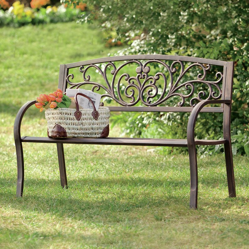 Plow Amp Hearth Blooming Iron Garden Bench Amp Reviews Wayfair