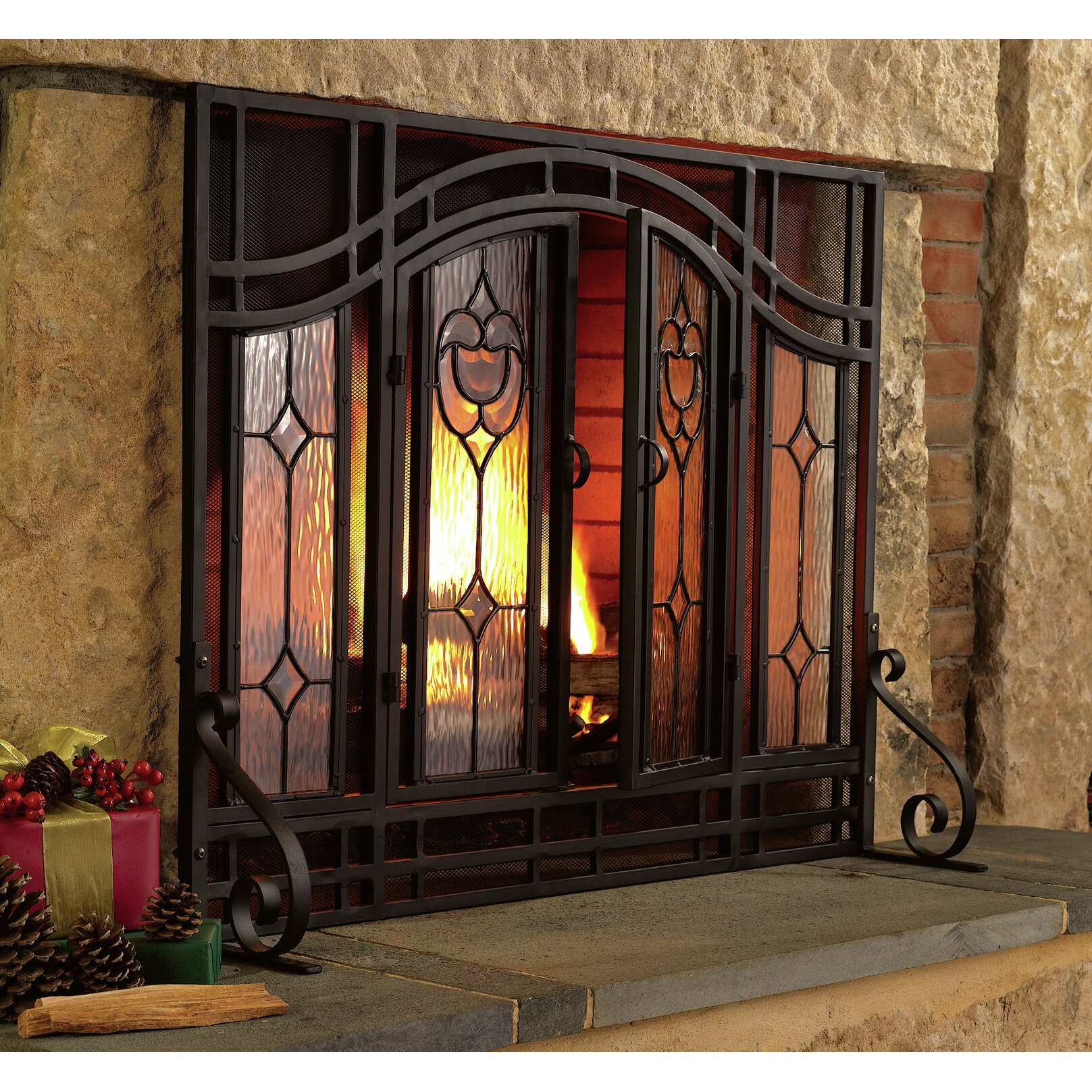 Plow Hearth Glass Fireplace Screen Reviews Wayfair